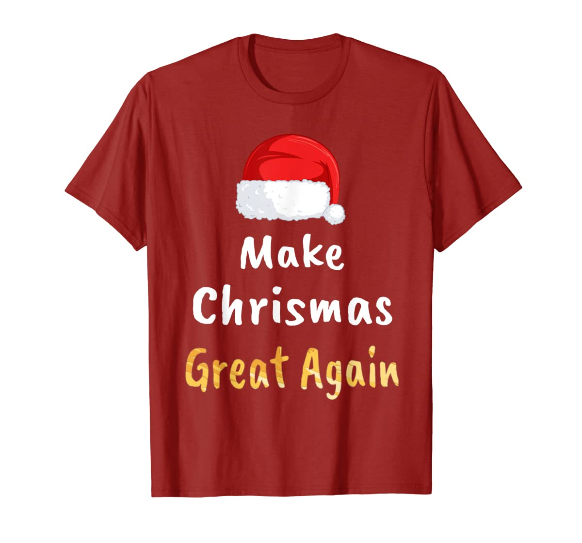 Awesome Make Christmas Great Again Trump Hat Xmas Gift T-Shirt-Men's T-Shirt-Red