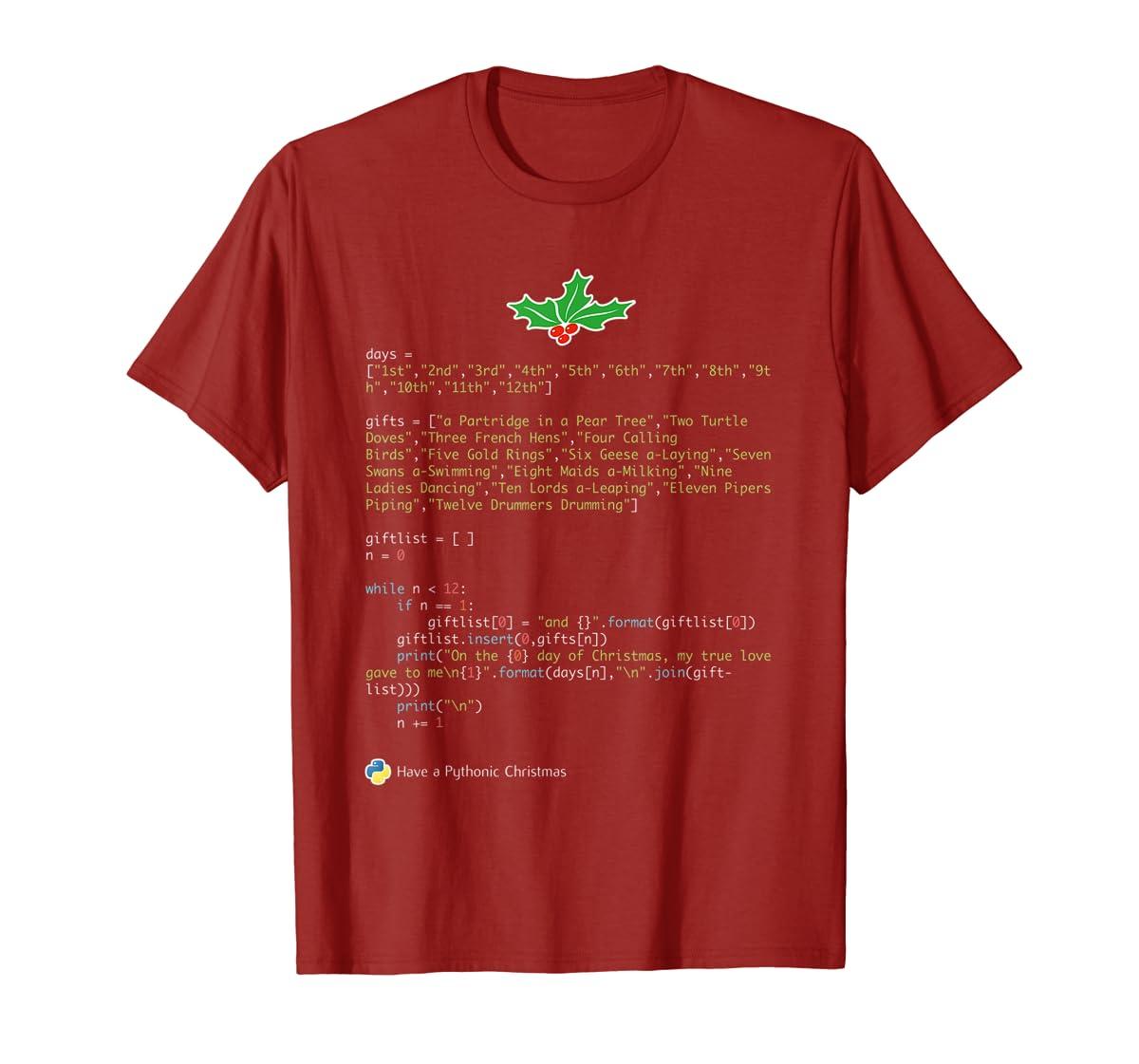 Geek Christmas Xmas - 12 Days of Python T-Shirt-Men's T-Shirt-Red