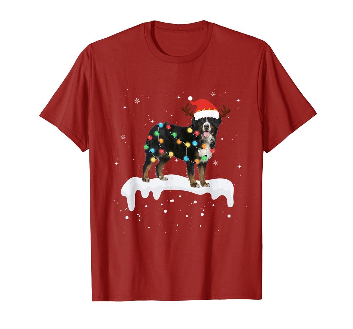 Bernese Mountain Christmas Lights Cute Dog Lover Gift T-Shirt-Men's T-Shirt-Red