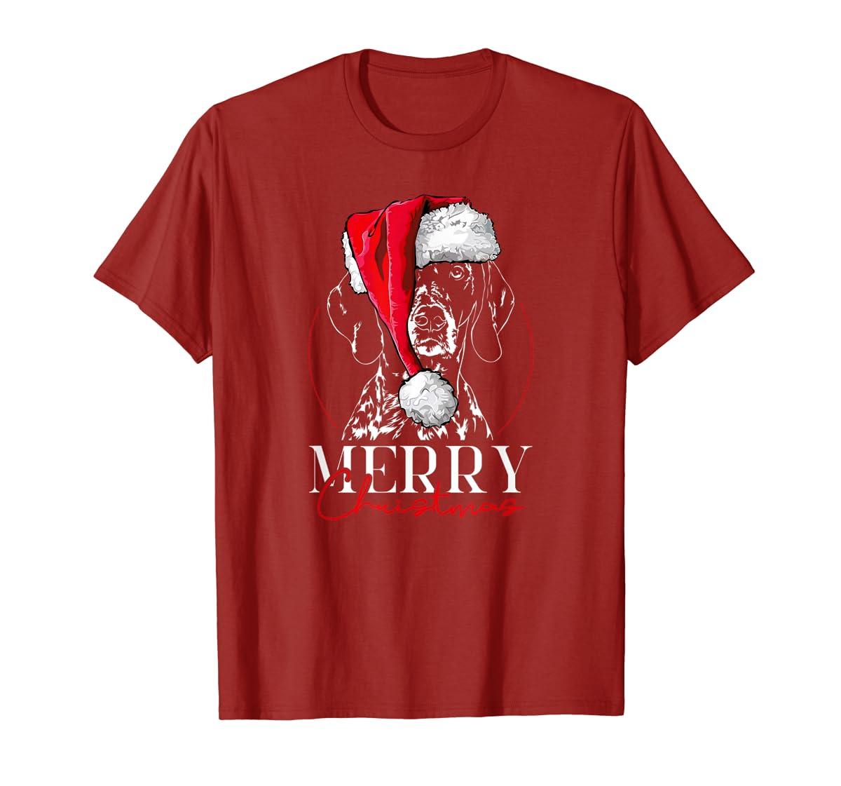 Funny Santa German Shorthaired Pointer Merry Christmas dog T-Shirt-Men's T-Shirt-Red