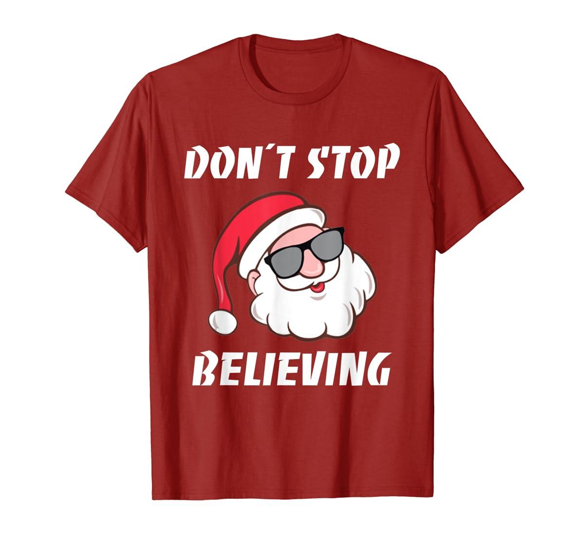 Don't Stop Believing Santa Claus Christmas T-Shirt-Men's T-Shirt-Red