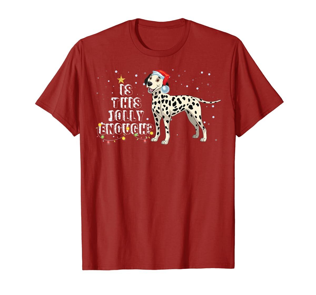 Dalmatian Santa Is This Jolly Enough Christmas Gifts T-Shirt-Men's T-Shirt-Red