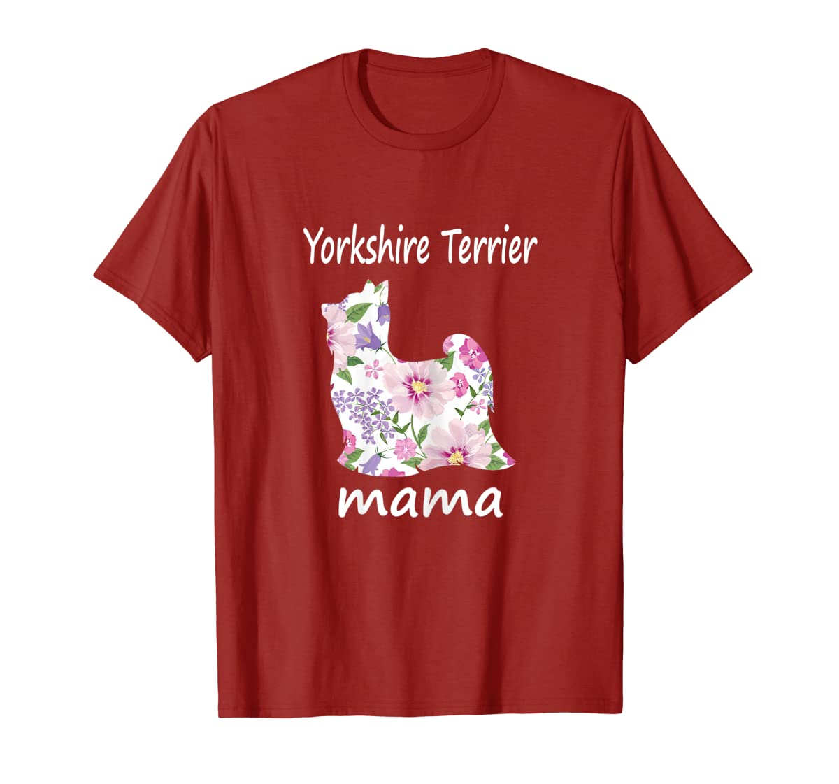 Womens Yorkshire Terrier Mama Decorative Flowers Dog Lover Mom T-Shirt-Men's T-Shirt-Red