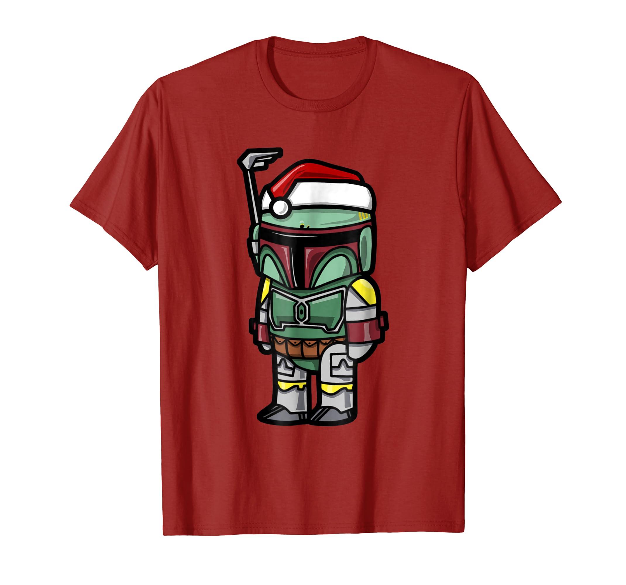 Boba Fett Santa Hat Cartoon Style Graphic T Shirt-azvn