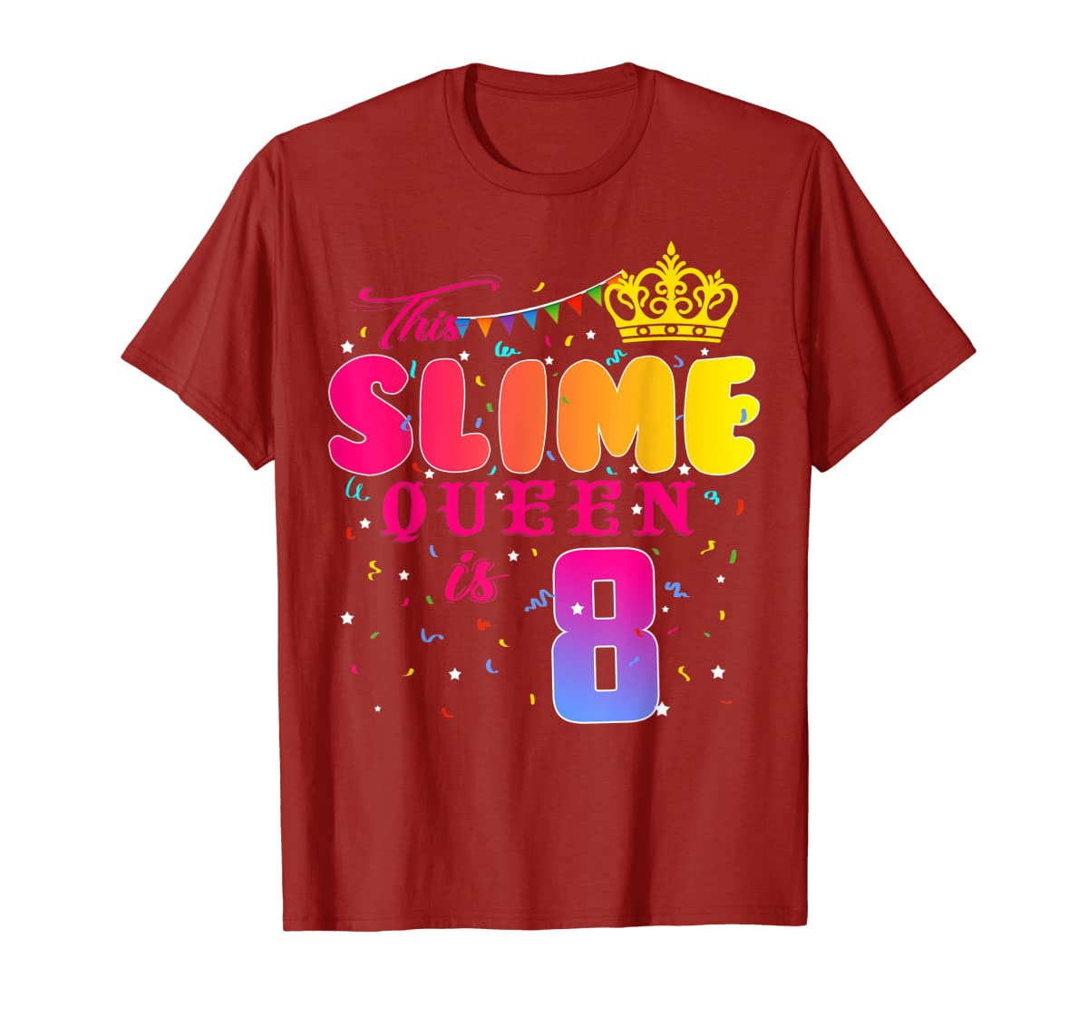 8 Years Old 8th Birthday Slime Queen Shirt Girl Gift Party-Men's T-Shirt-Red