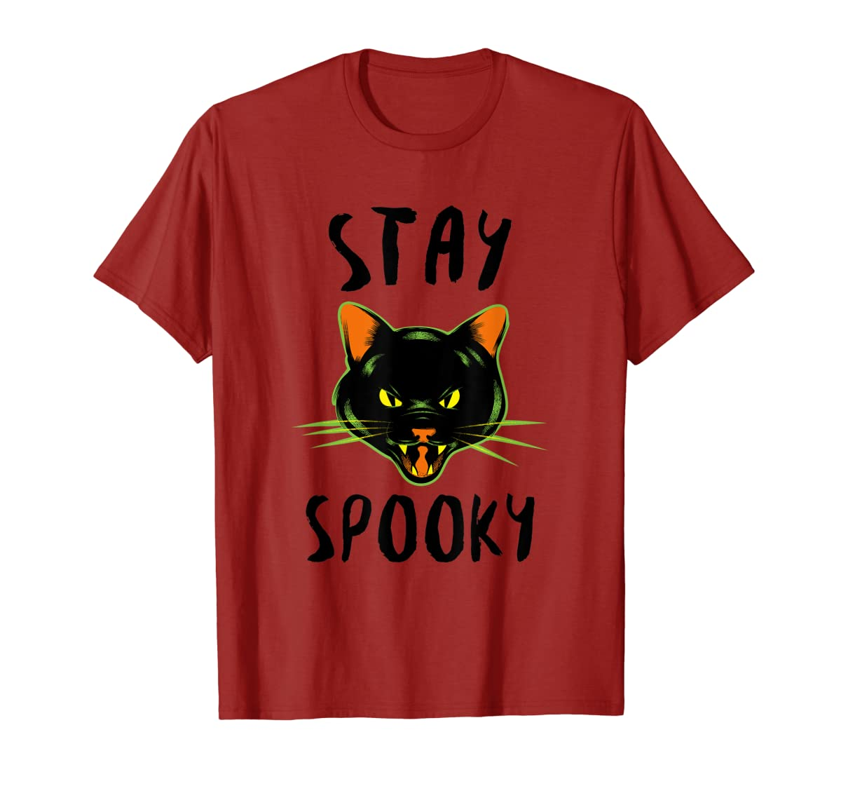 Stay Spooky | Scary Halloween Black Cat T-Shirt-Men's T-Shirt-Red