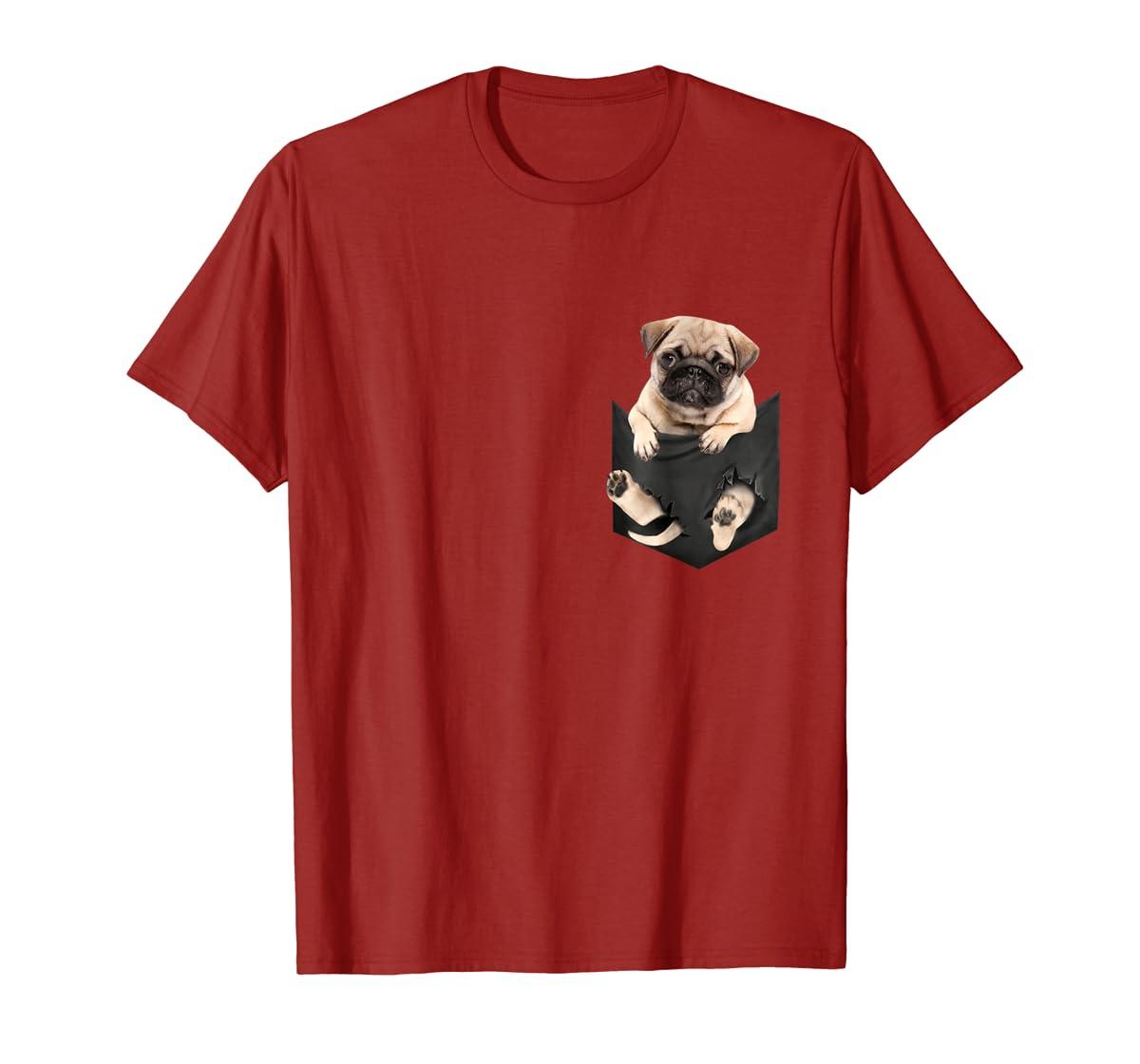 Dog in Your Pocket santa hat pug lover gift shirt-Men's T-Shirt-Red
