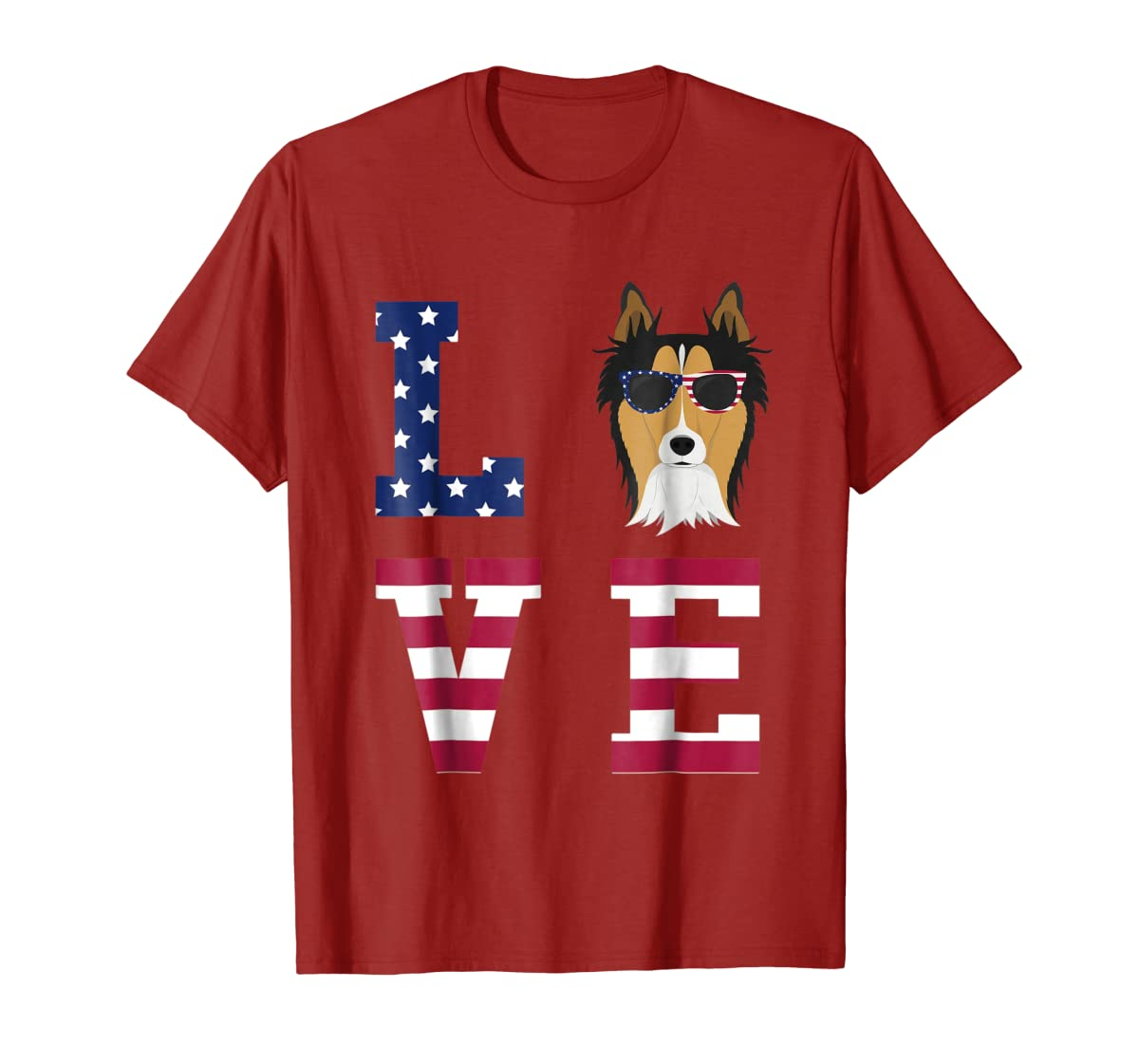 Collie Dog - 4th Of July T-Shirt-Men's T-Shirt-Red