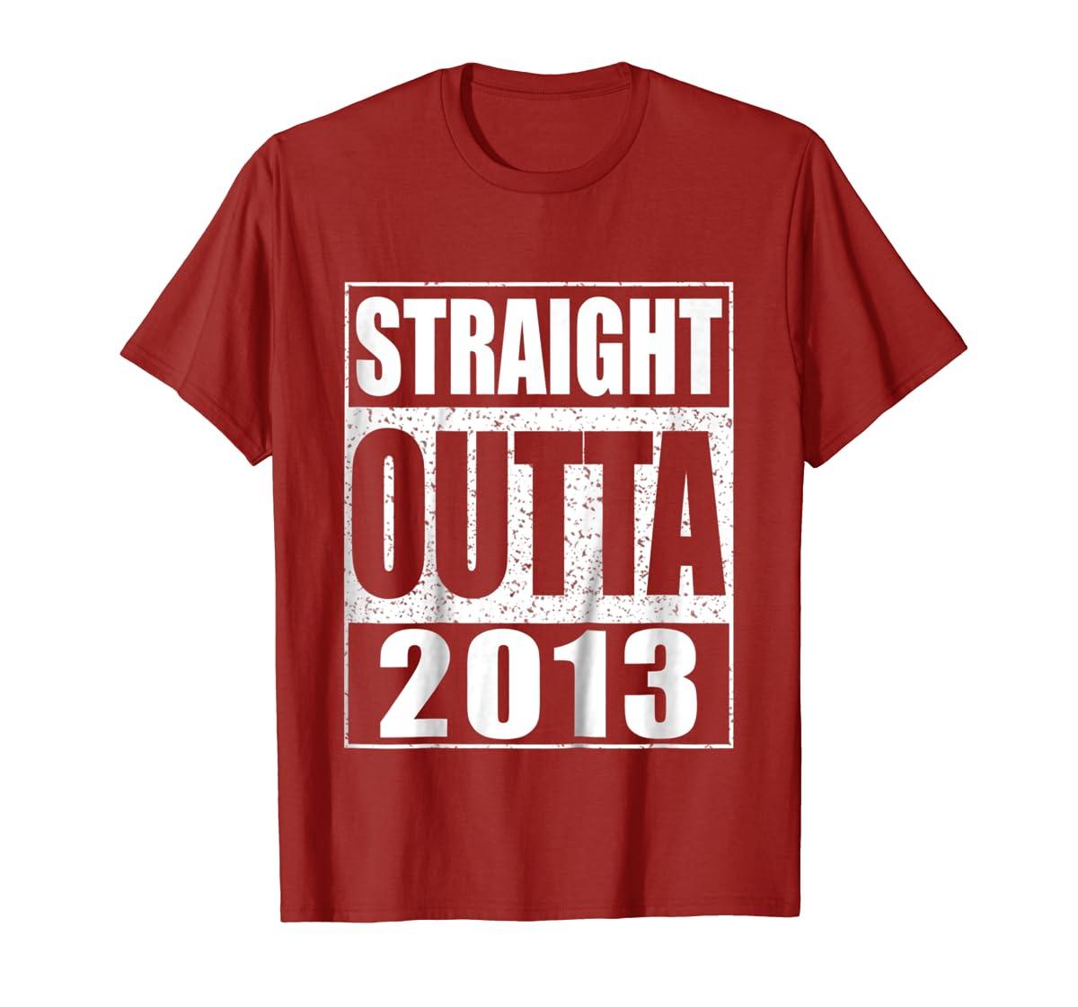 Kids Straight Outta 2013 T-Shirt 6th Birthday Gift Shirt-Men's T-Shirt-Red
