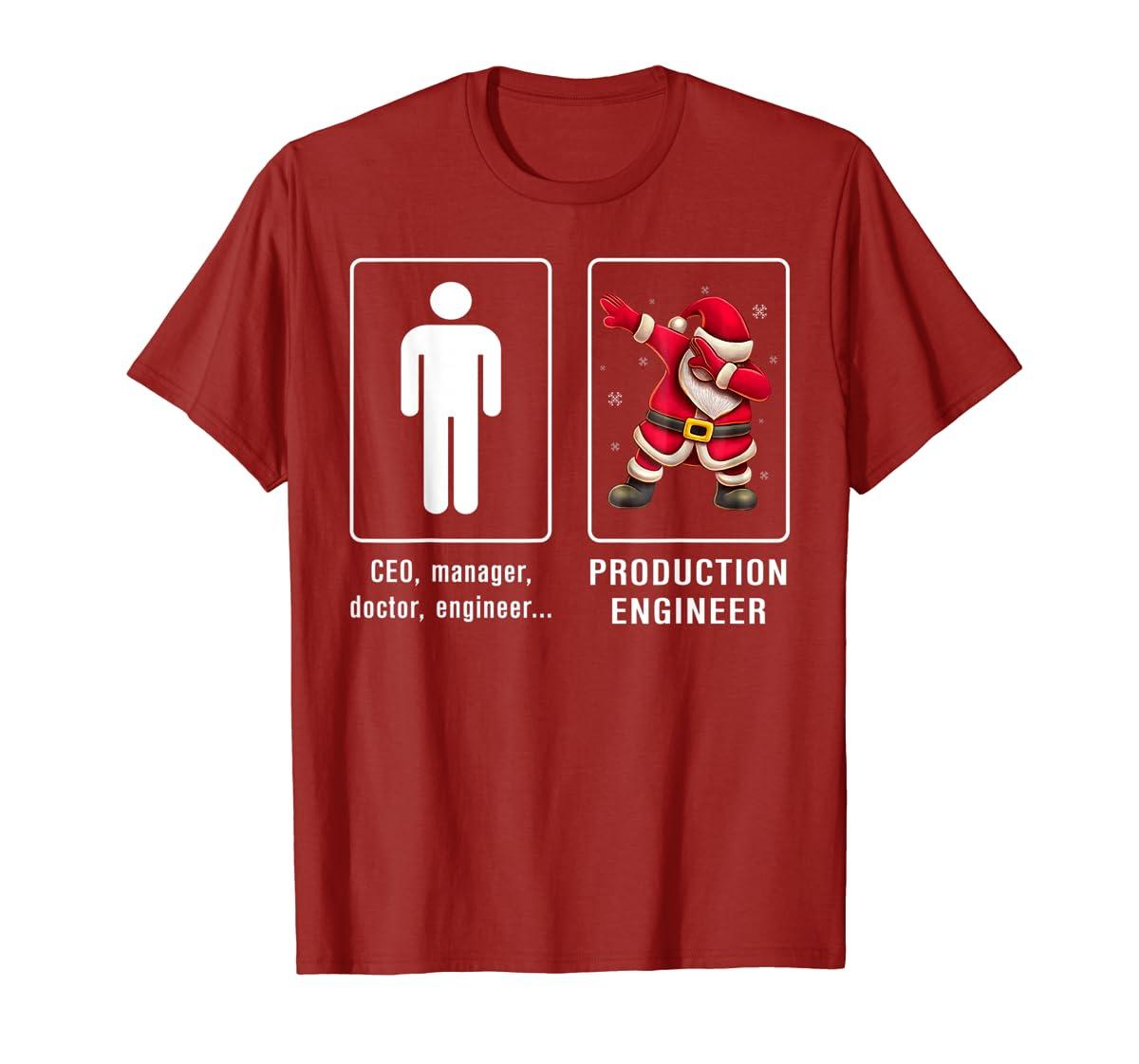 PRODUCTION ENGINEER Santa Dab T-shirt Funny Christmas T-Shirt-Men's T-Shirt-Red