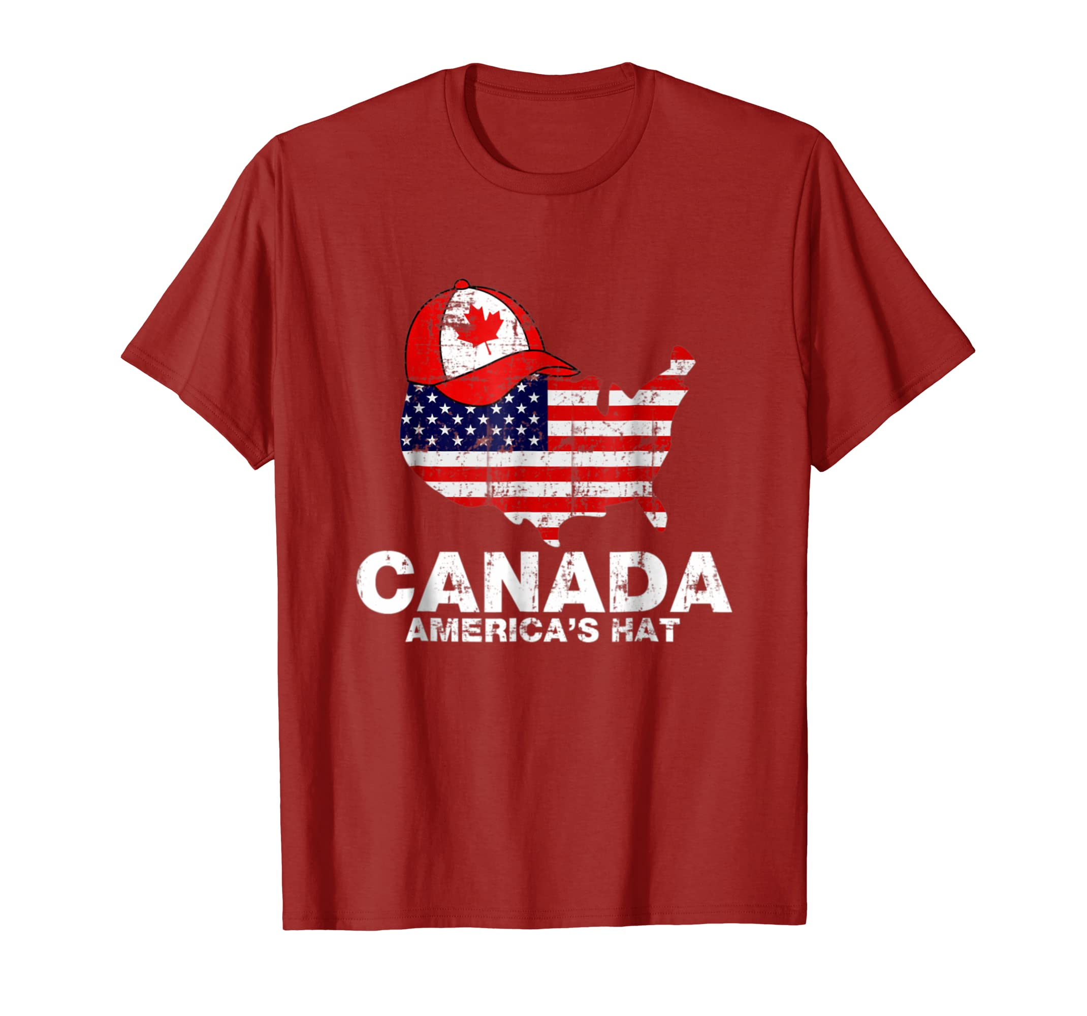 Amazon.com  Canada America s Hat Funny T-Shirt USA Flag Canada Day Gifts   Clothing a4982ade133