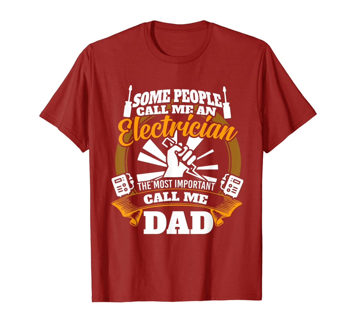 Mens Funny Electrician T-shirt for dad who loves technician gifts-Men's T-Shirt-Red
