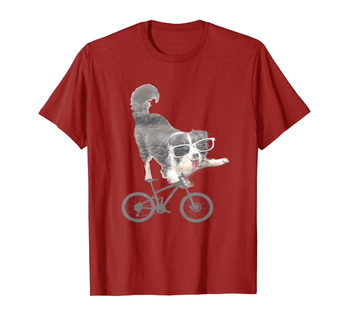 Border collie on a Bicycle T-shirt-Men's T-Shirt-Red