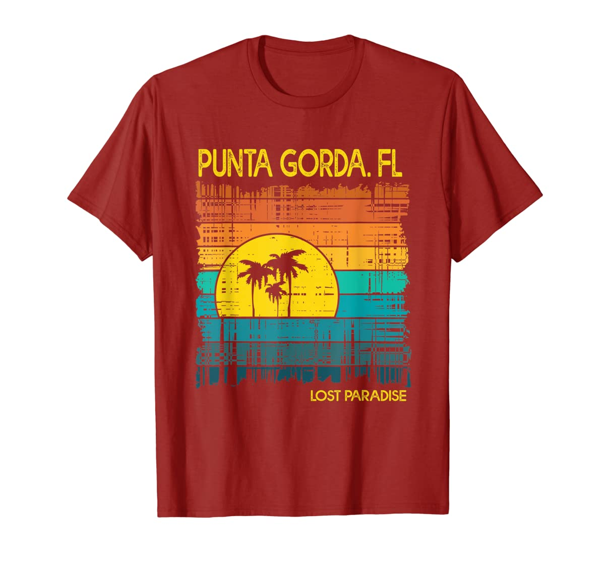 Punta Gorda Beach Florida Shirt Sunset-Men's T-Shirt-Red