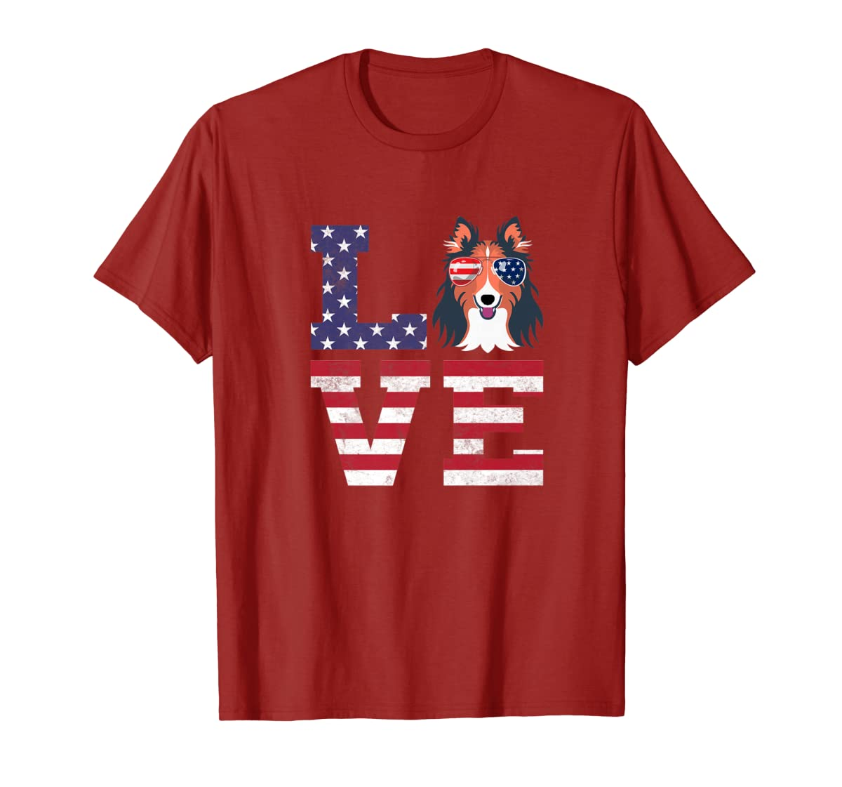 Love Rough Collie Dog American Flag 4th of july Shirt-Men's T-Shirt-Red