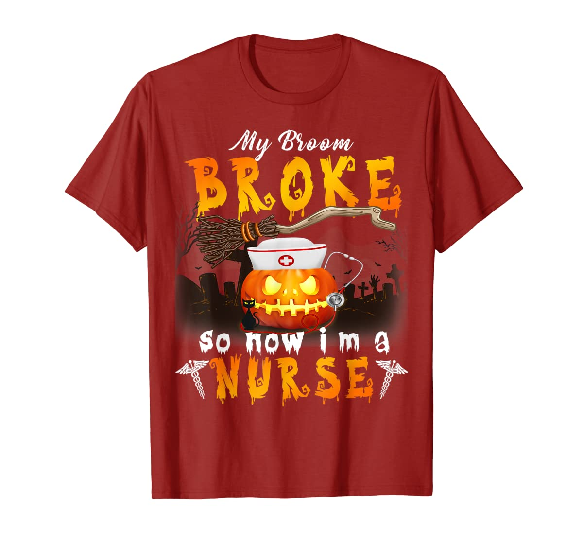 My Broom Broke So Now I'm A Nurse Halloween Costume Gift T-Shirt-Men's T-Shirt-Red
