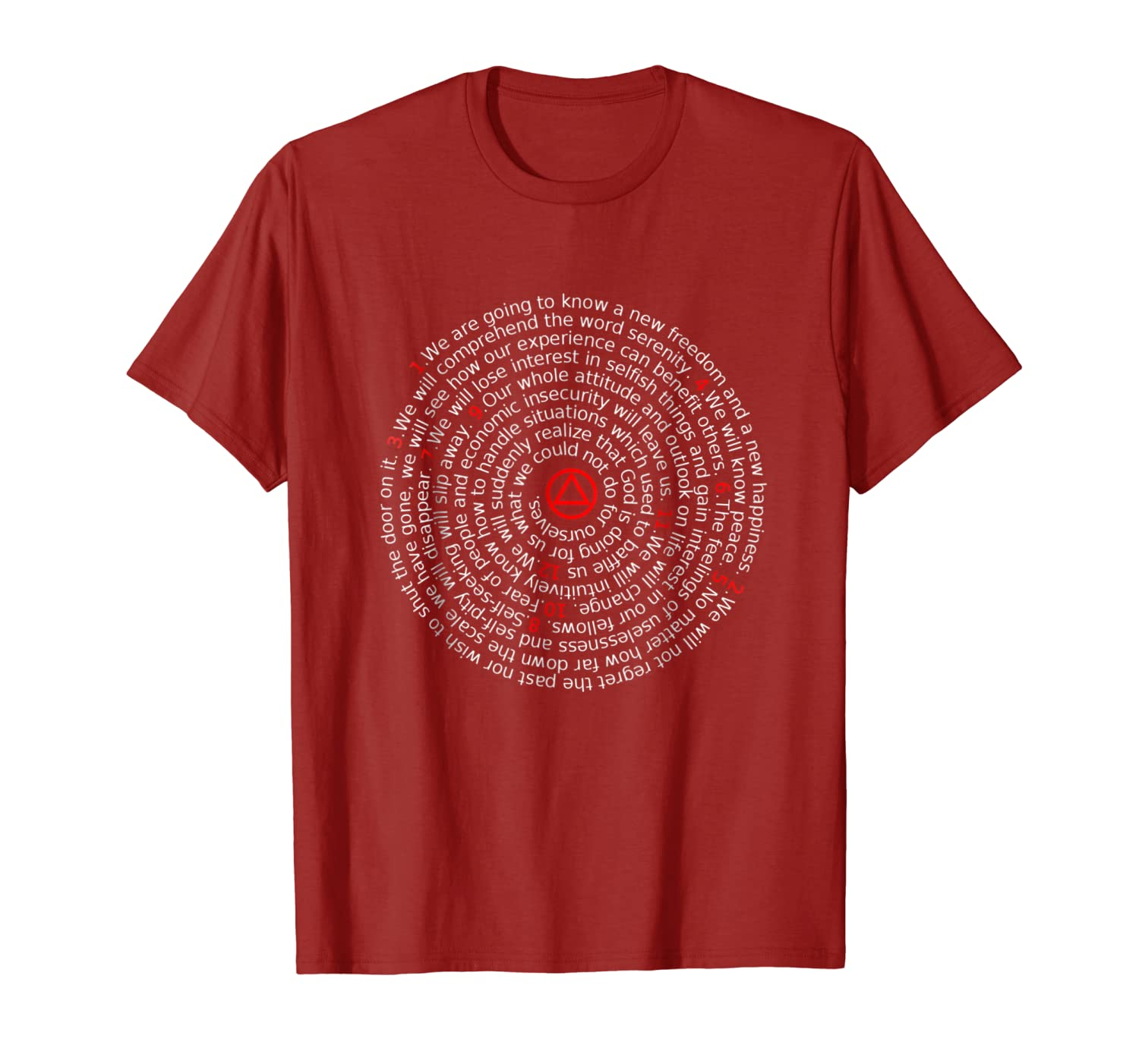 'The Twelve Promises' – AA 12 Step Recovery Spiral T-Shirt