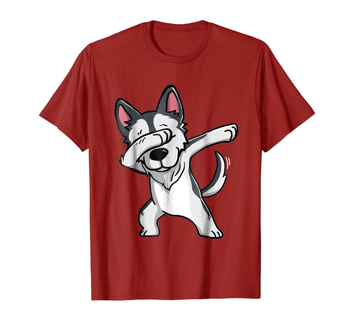 Dabbing Siberian Husky T-Shirt Husky Kids Costume-Men's T-Shirt-Red