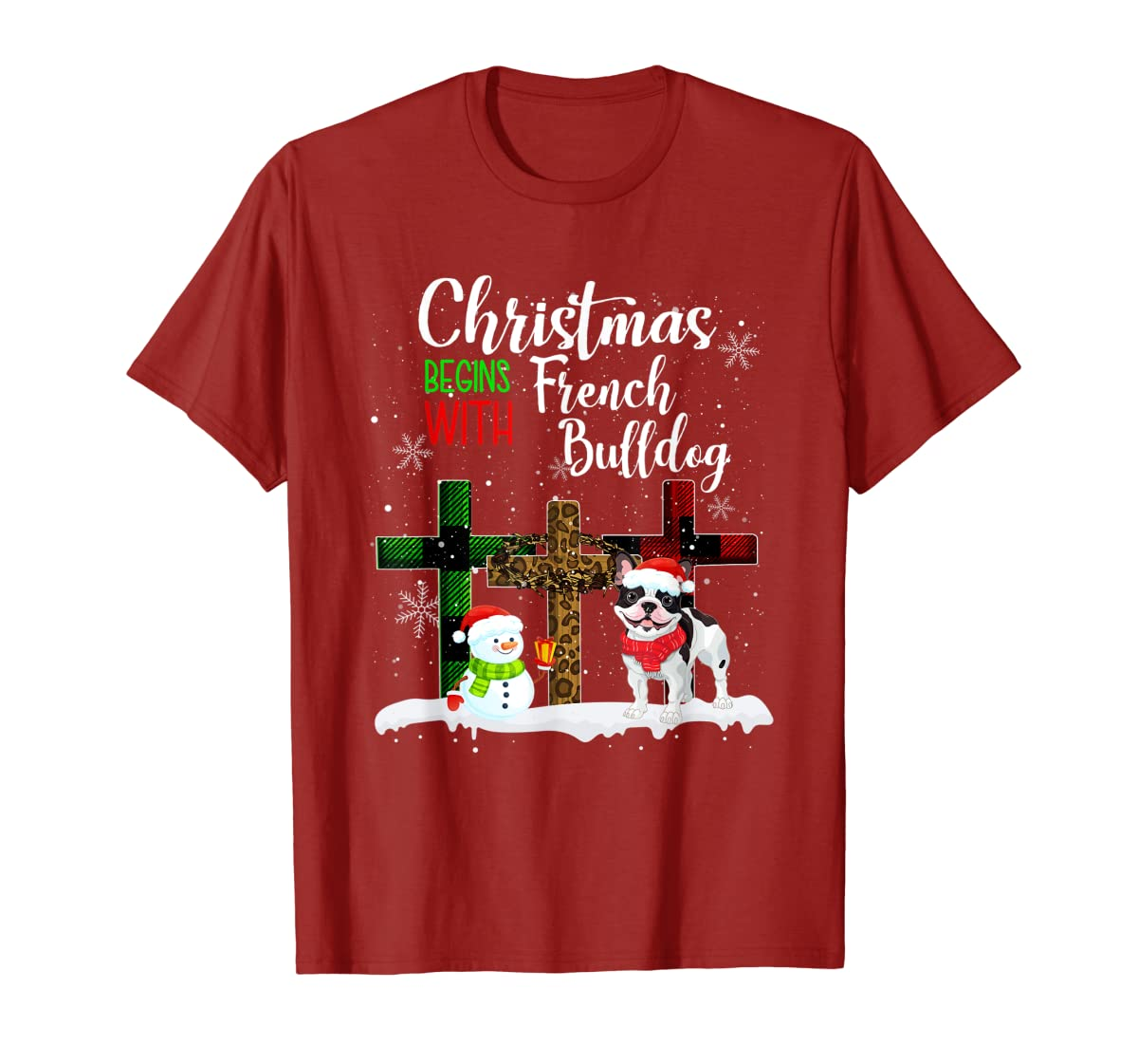Christmas Begins With French Bulldog Costume Xmas Gifts T-Shirt-Men's T-Shirt-Red