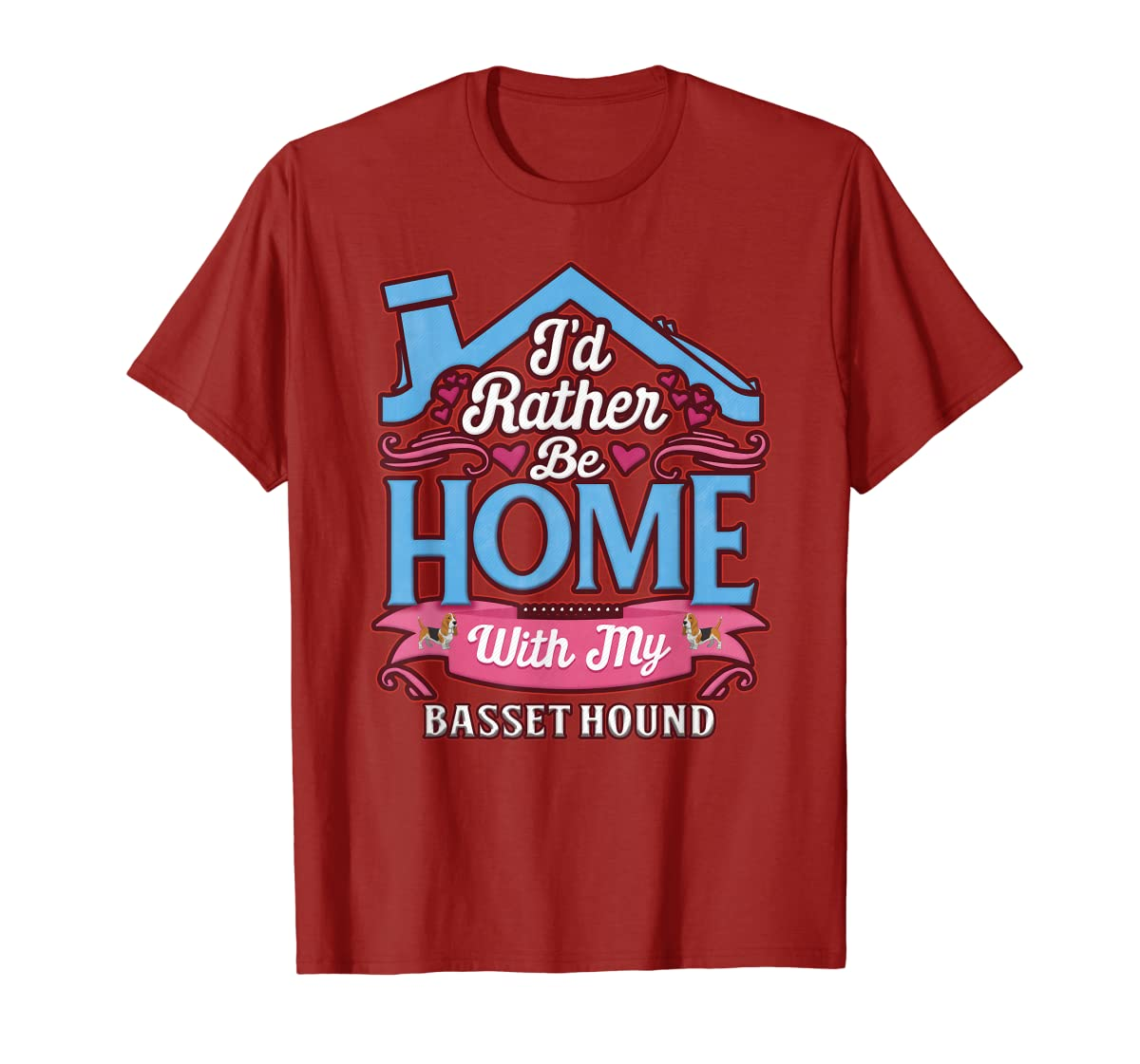 Basset Hound Home Dog T Shirt-Men's T-Shirt-Red