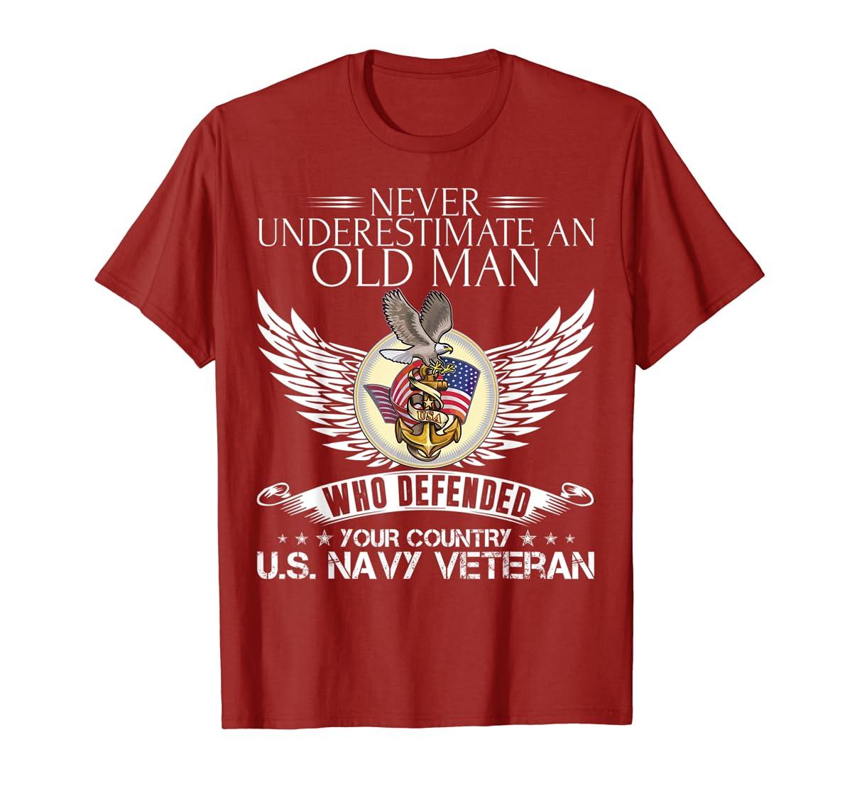 Never Underestimate An Old Man US Navy Veteran T-shirt Gift-Men's T-Shirt-Red