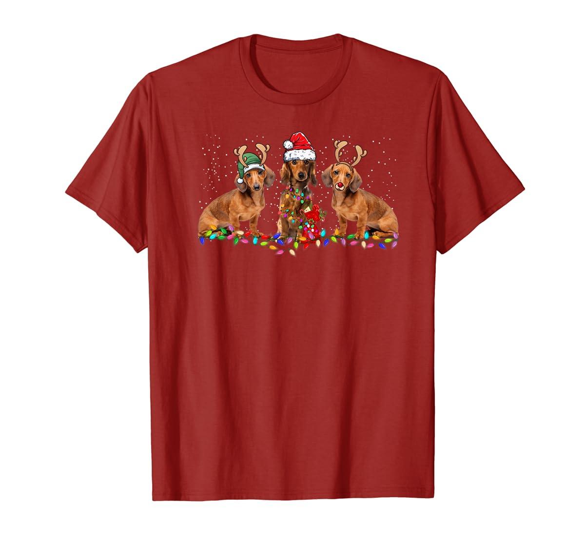 Three Dachshund Dogs Christmas Santa Hat Lights Xmas Gift Premium T-Shirt-Men's T-Shirt-Red