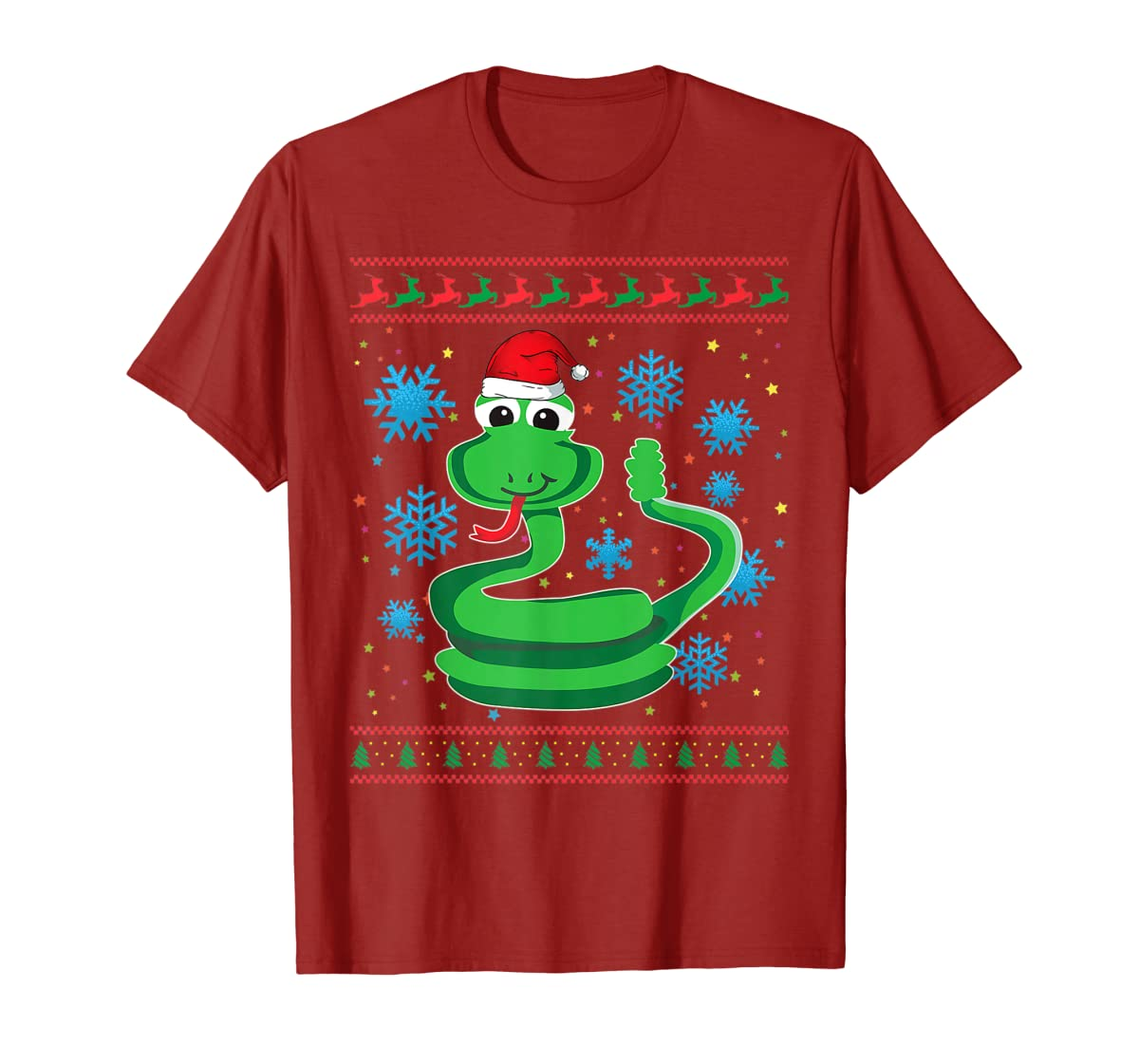 Rattlesnake With Santa Hat Christmas Snake Lover Gift Ugly T-Shirt-Men's T-Shirt-Red
