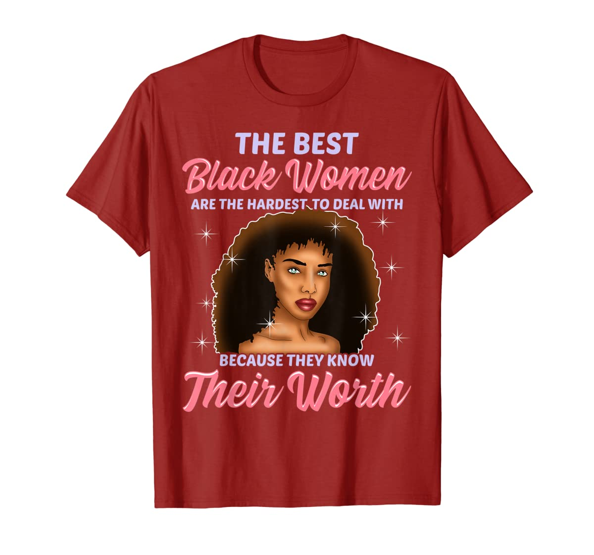Best Black Women Hardest To Deal With Know Their Worth Shirt-Men's T-Shirt-Red