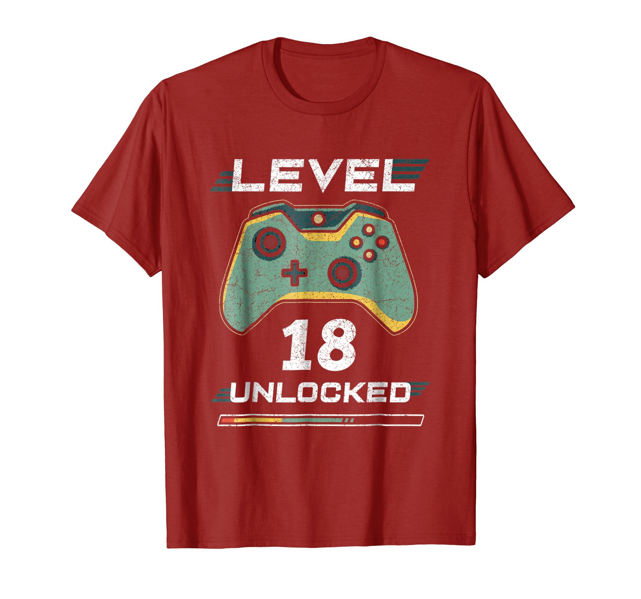 Amazon Level 18 Unlocked Tshirt 18th Video Gamer Birthday Boy Gift Clothing