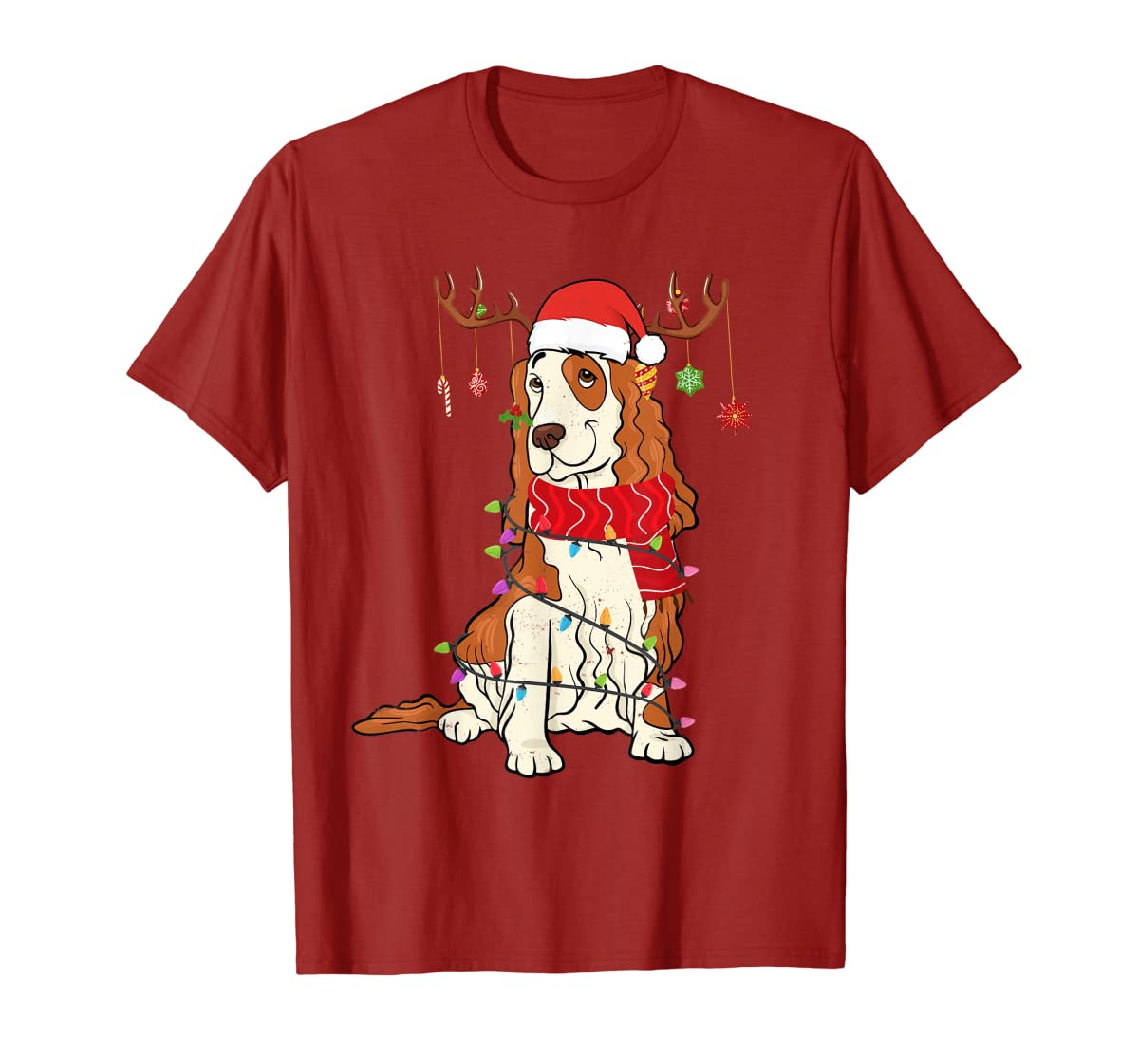 Funny Cocker Spaniel Christmas Reindeer Lights Xmas Dog T-Shirt-Men's T-Shirt-Red