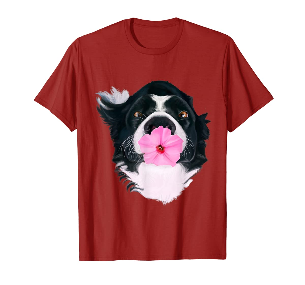 Border Collie Sweet Dog T-Shirt Dogs Tee Shirt Gifts-Men's T-Shirt-Red
