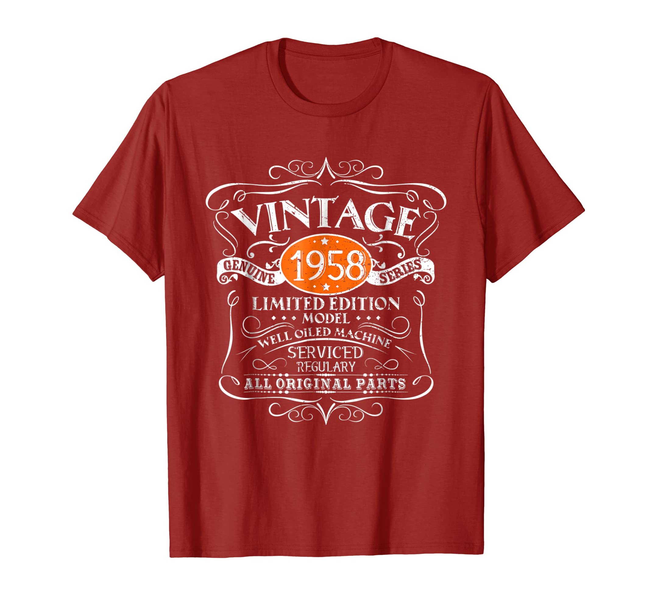 Amazon Vintage 1958 60th Birthday All Original Parts Gift T Shirt Clothing