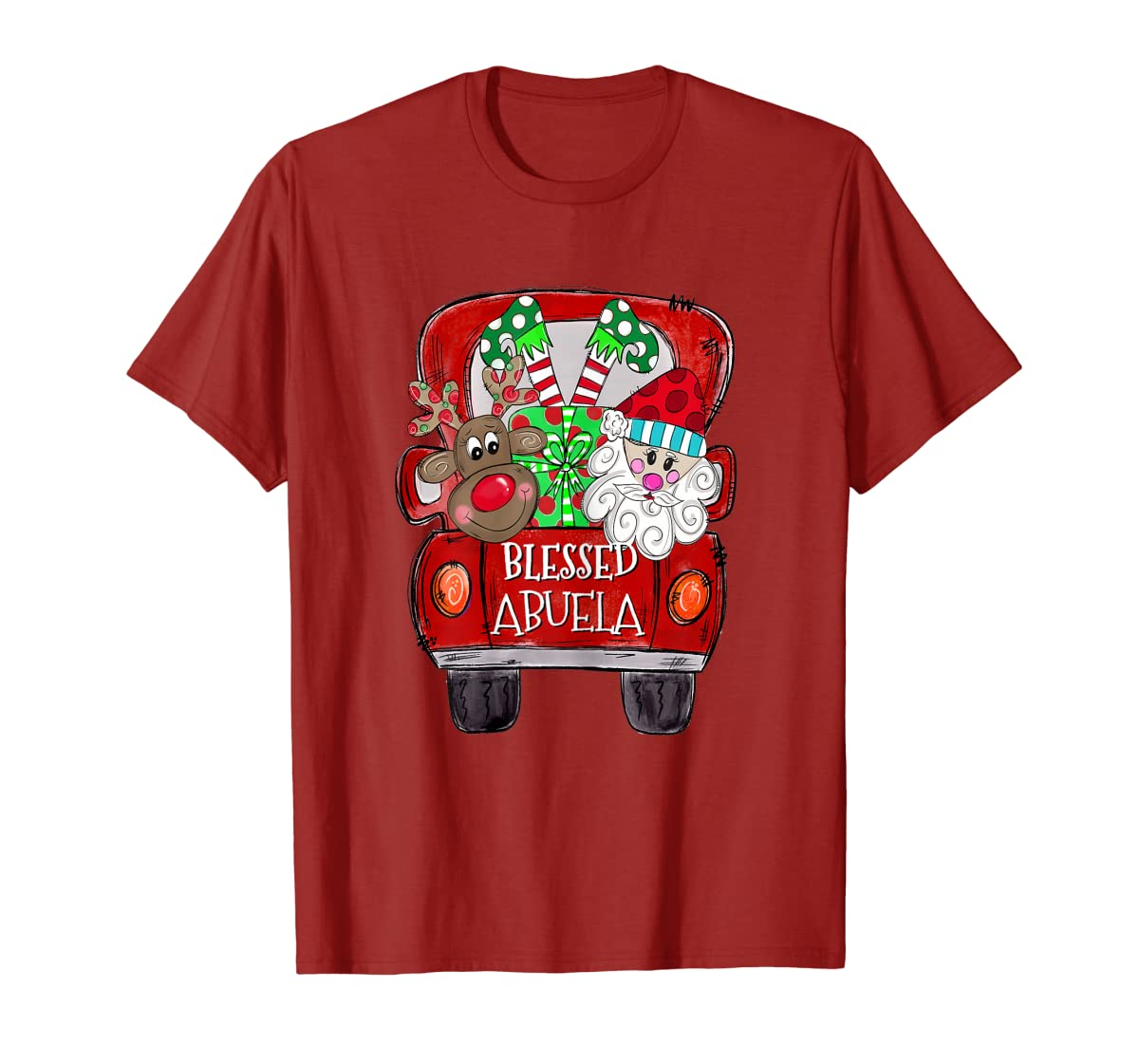 Womens Abuela Claus Cute Christmas Truck - Christmas Gift T-Shirt-Men's T-Shirt-Red