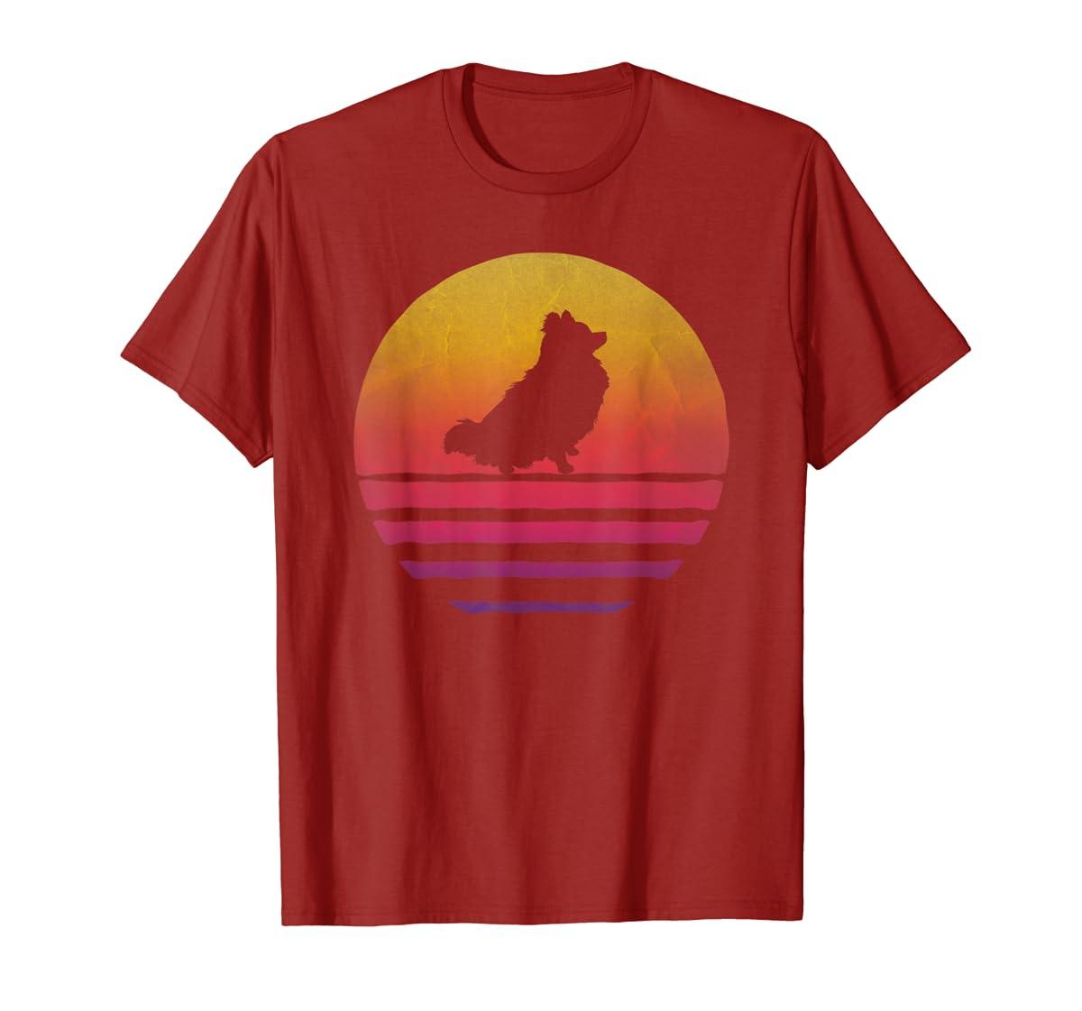Retro Vintage Sunset Pomeranian Dog Lover Silhouette Gift T-Shirt-Men's T-Shirt-Red