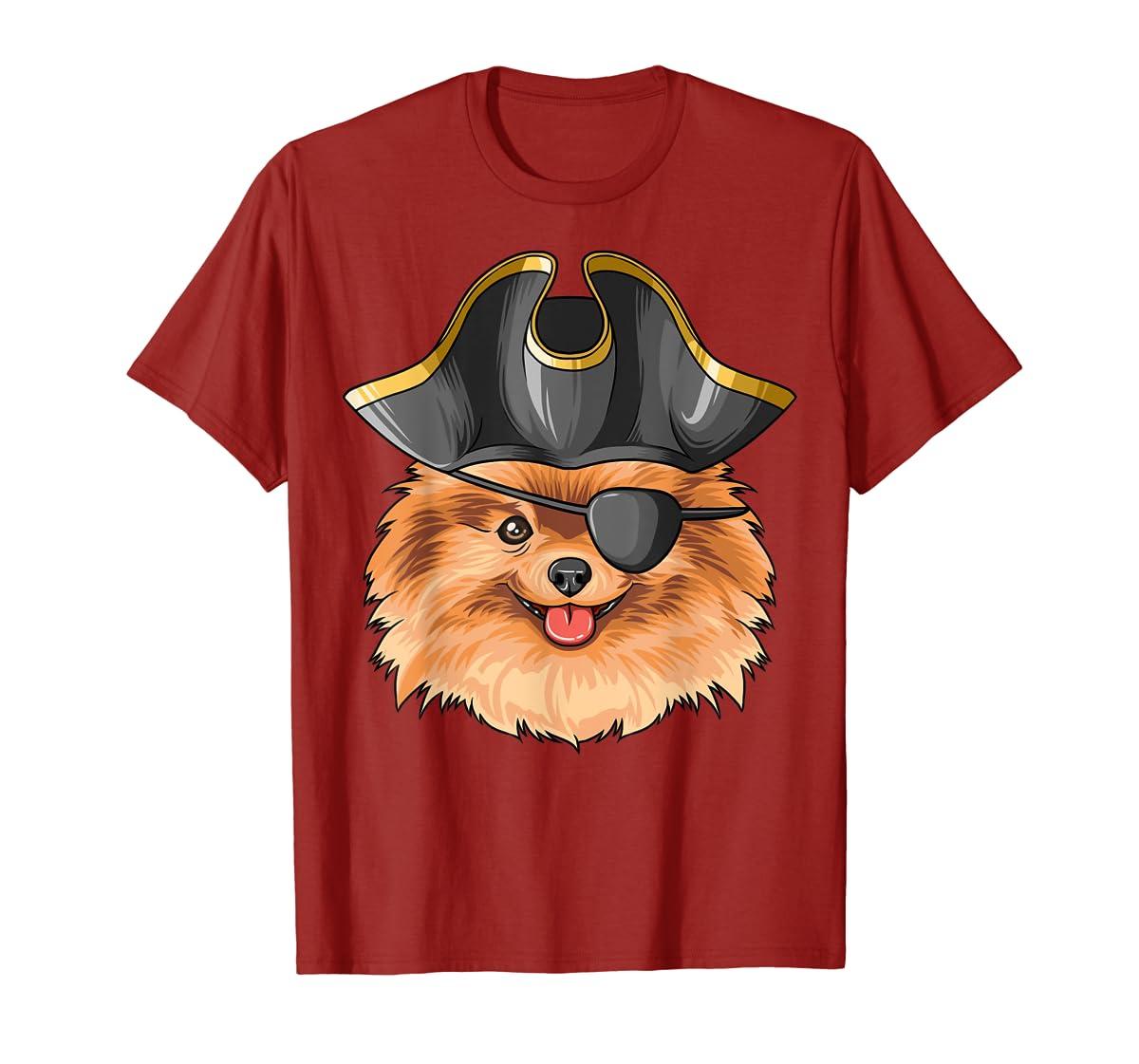 Pirate Pomeranian Pirates Hat Pomeranian T-Shirt-Men's T-Shirt-Red