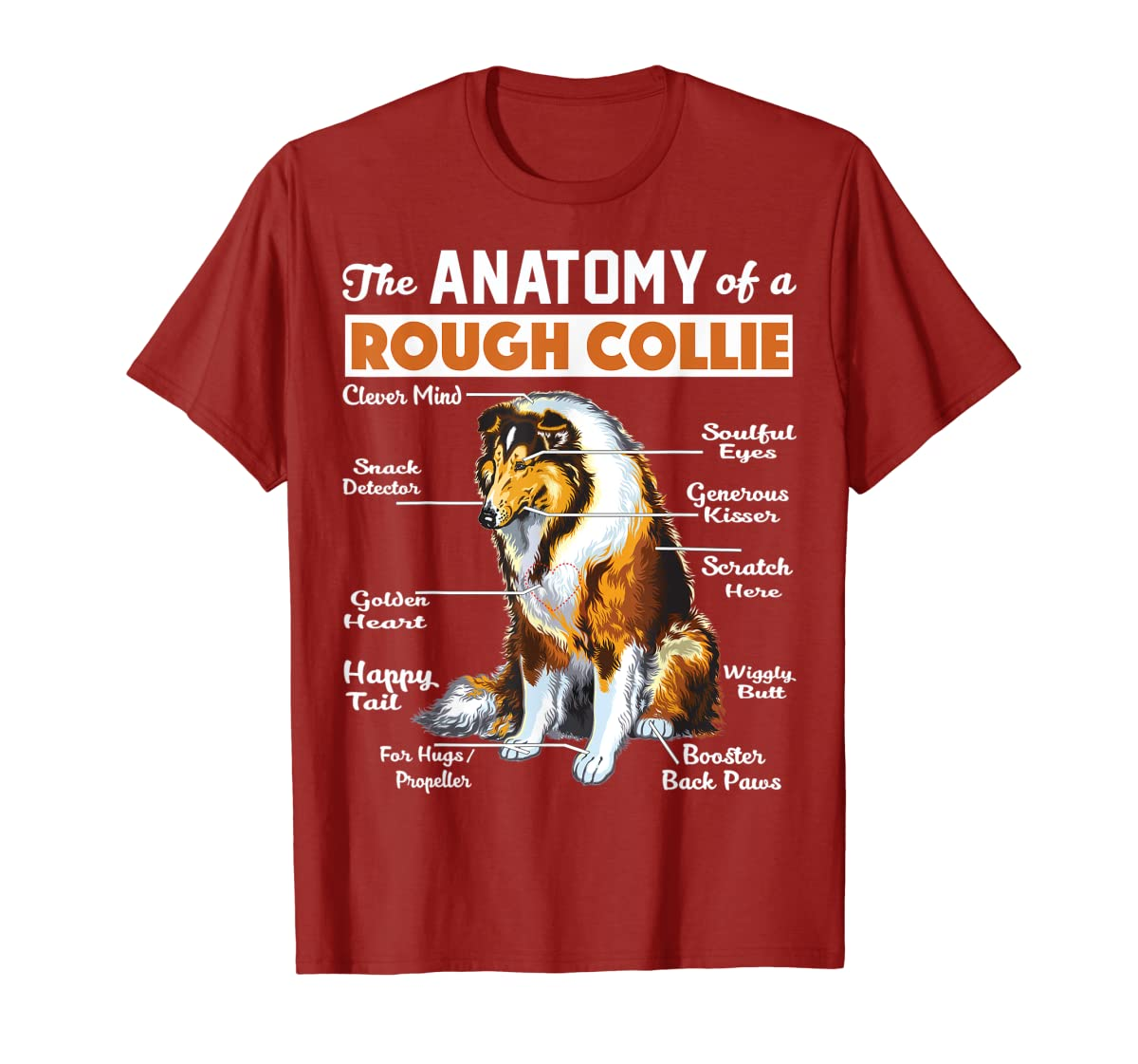 The Anatomy Of A Rough Collie-Men's T-Shirt-Red