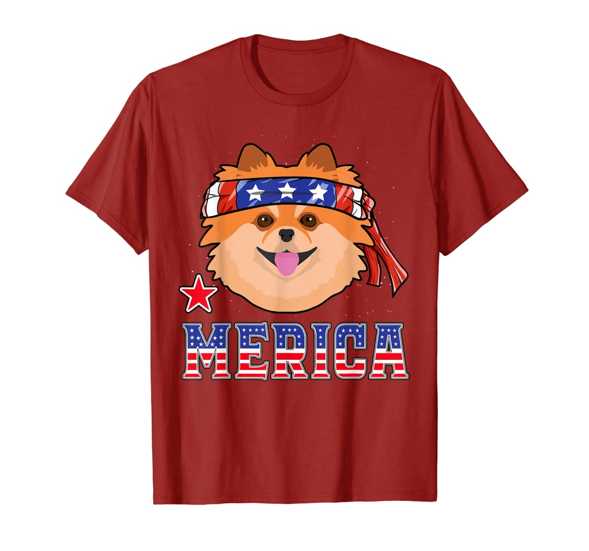 Pomeranian Dog Patriotic American 4th Of July Gift Dogs T-Shirt-Men's T-Shirt-Red