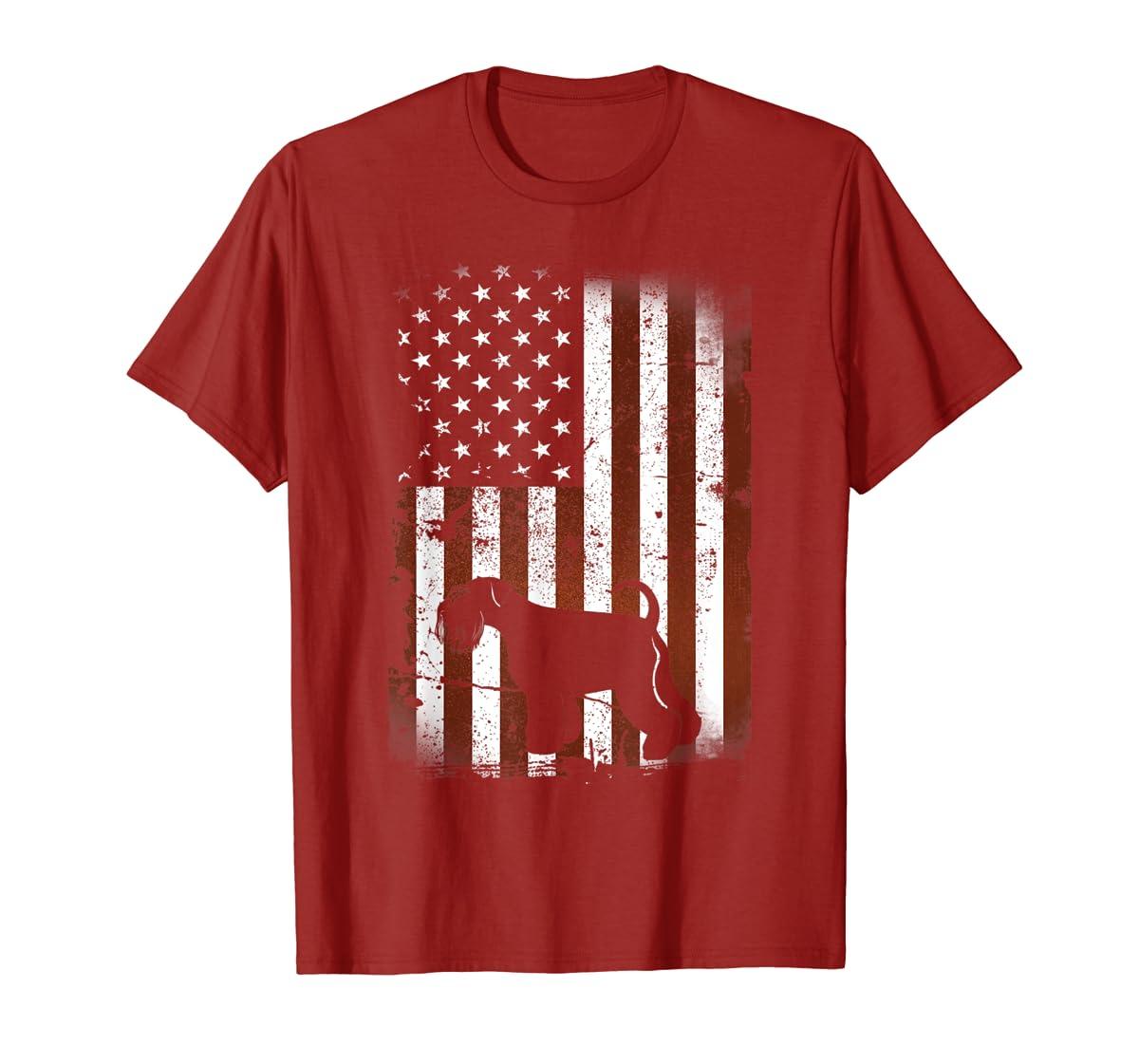 Miniature Schnauzer American Flag Dog 4th Of July T-Shirt-Men's T-Shirt-Red