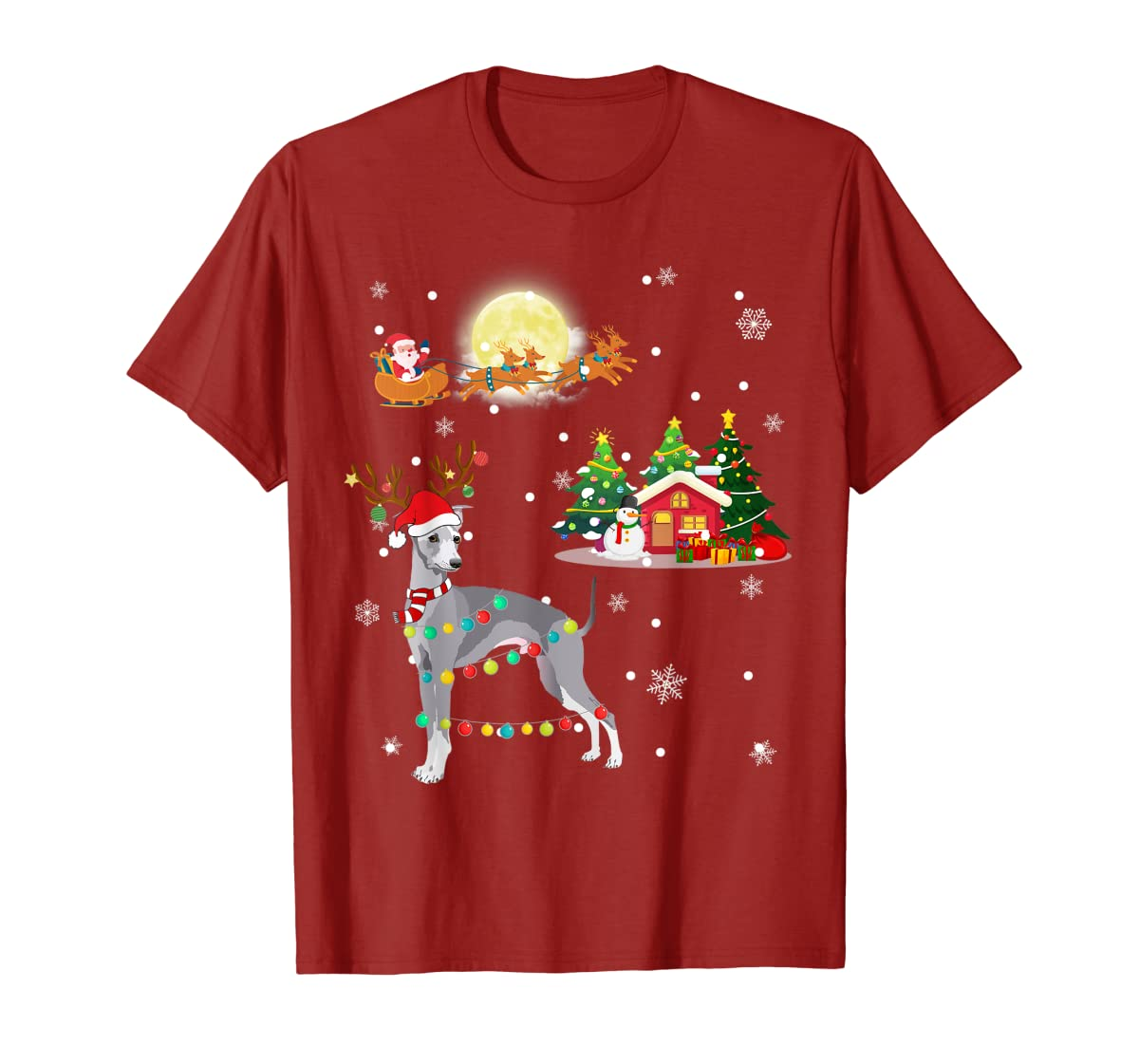 Greyhound Dog Led Light Christmas 2019 Gift T-Shirt-Men's T-Shirt-Red