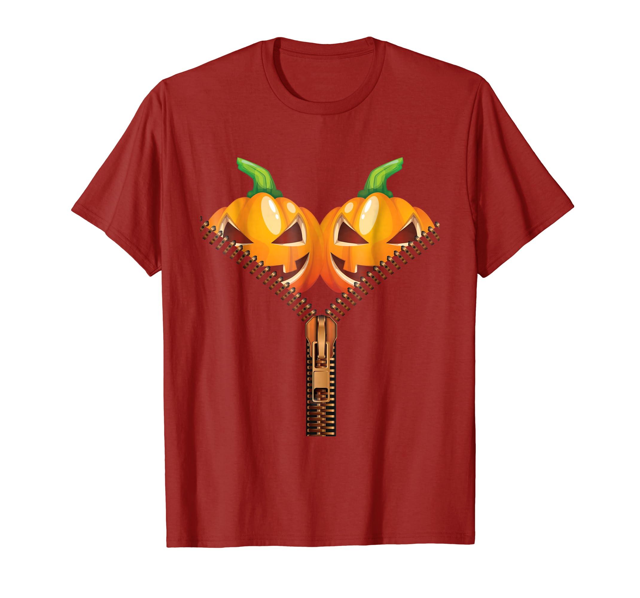484f836db Amazon.com: Pumpkin BOObs T-Shirt Womens Funny Halloween Costume Tee:  Clothing