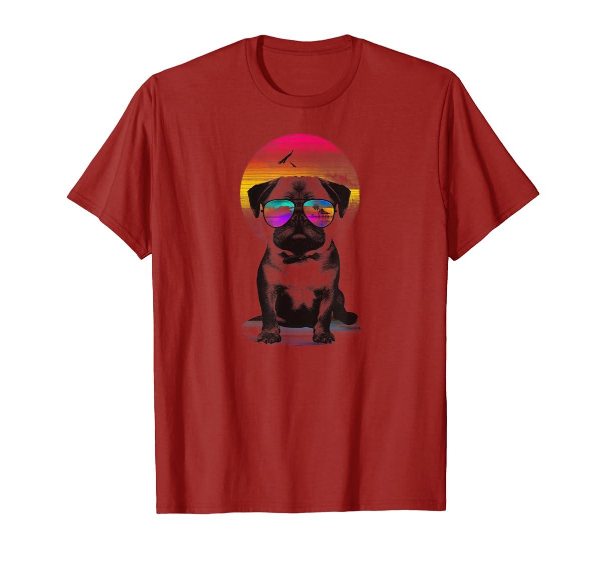 Holiday Sunglasses Pug T-shirt for Women, Men-Men's T-Shirt-Red