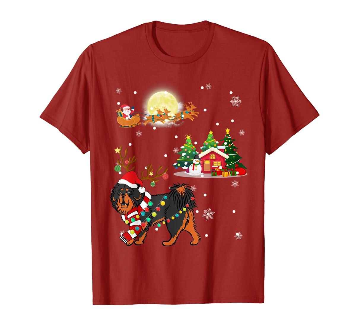 Tibetan Mastiff Dog Led Light Christmas 2019 Gift T-Shirt-Men's T-Shirt-Red