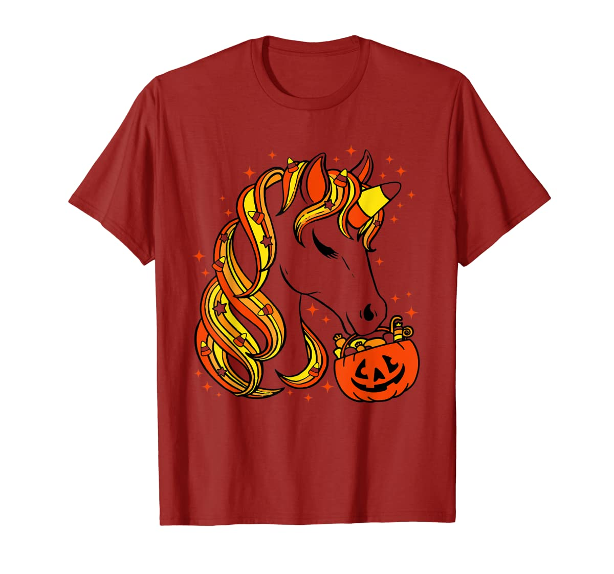 Cute Candy Corn Unicorn Halloween Top T-Shirt-Men's T-Shirt-Red