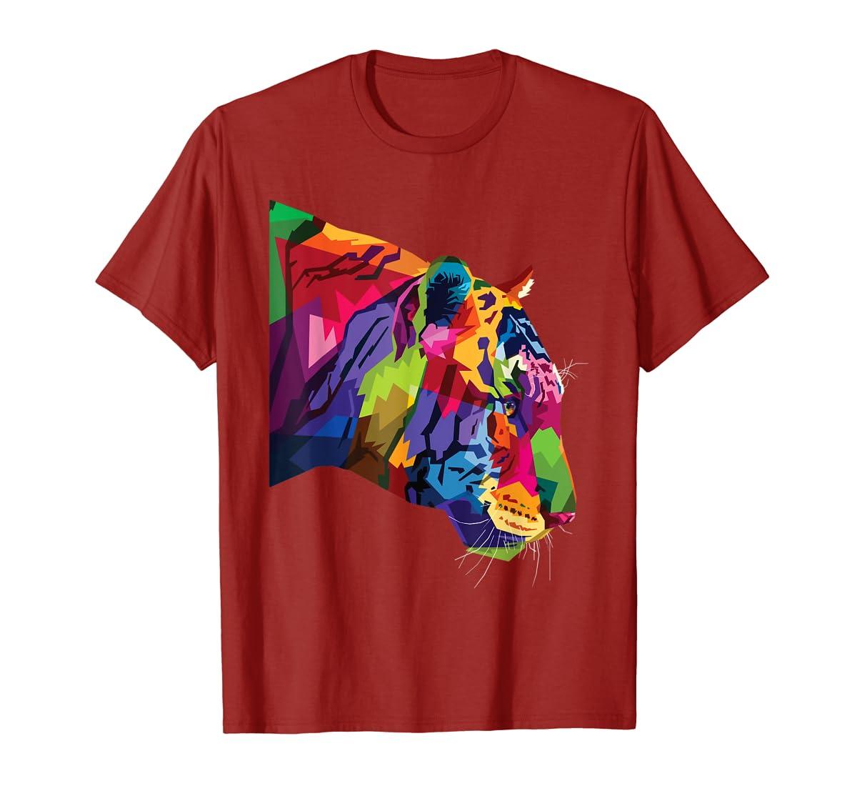 Tiger Shirt : Colorful Tiger's head Pop Art Style T-Shirt-Men's T-Shirt-Red