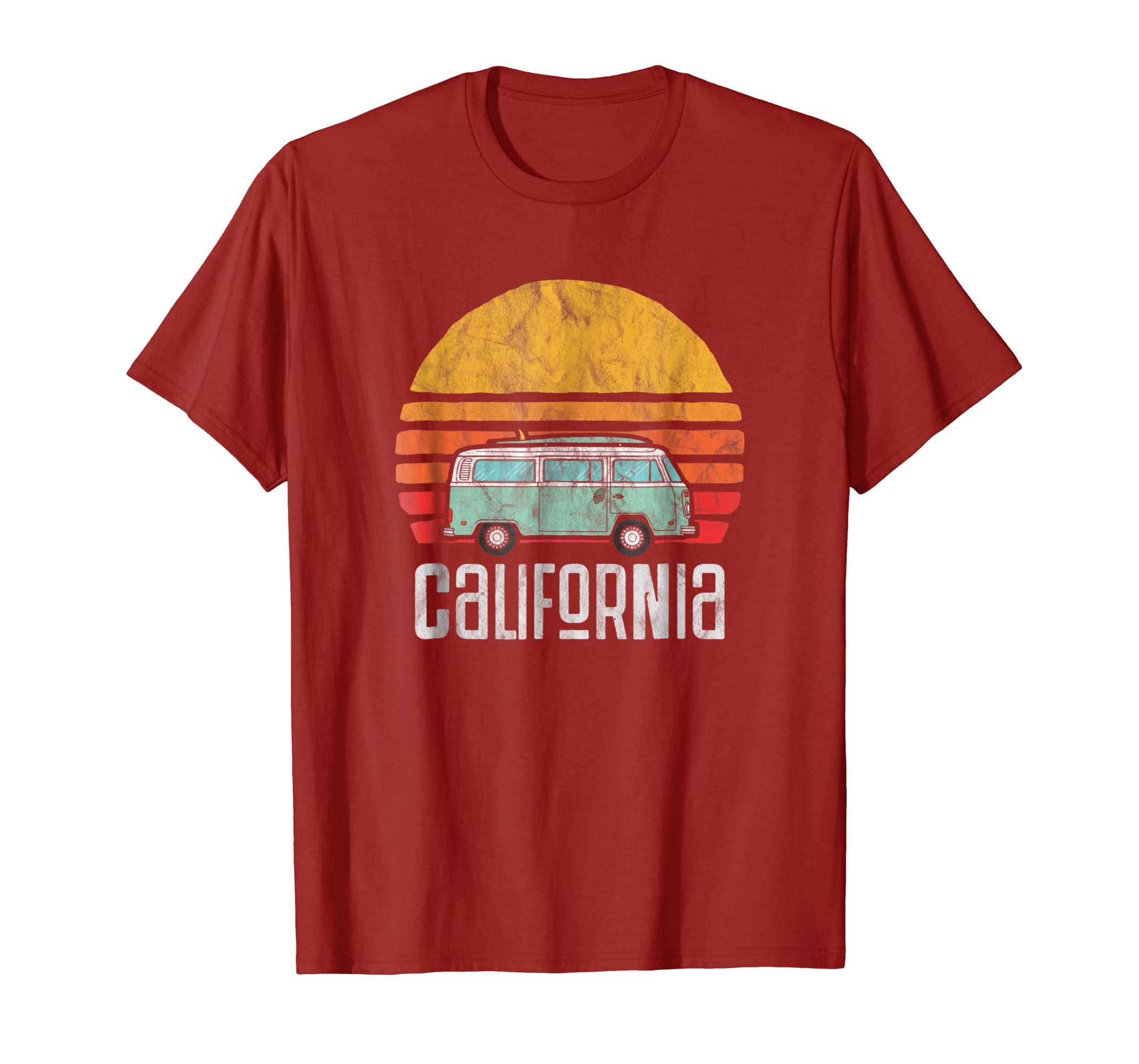 be723fa84a Amazon.com: Retro California Hippie Van Beach Bum Surfer T-Shirt: Clothing
