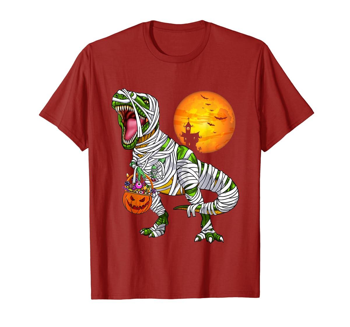 Halloween Gift For Boys Kids Dinosaur T rex Mummy Pumpkin T-Shirt-Men's T-Shirt-Red
