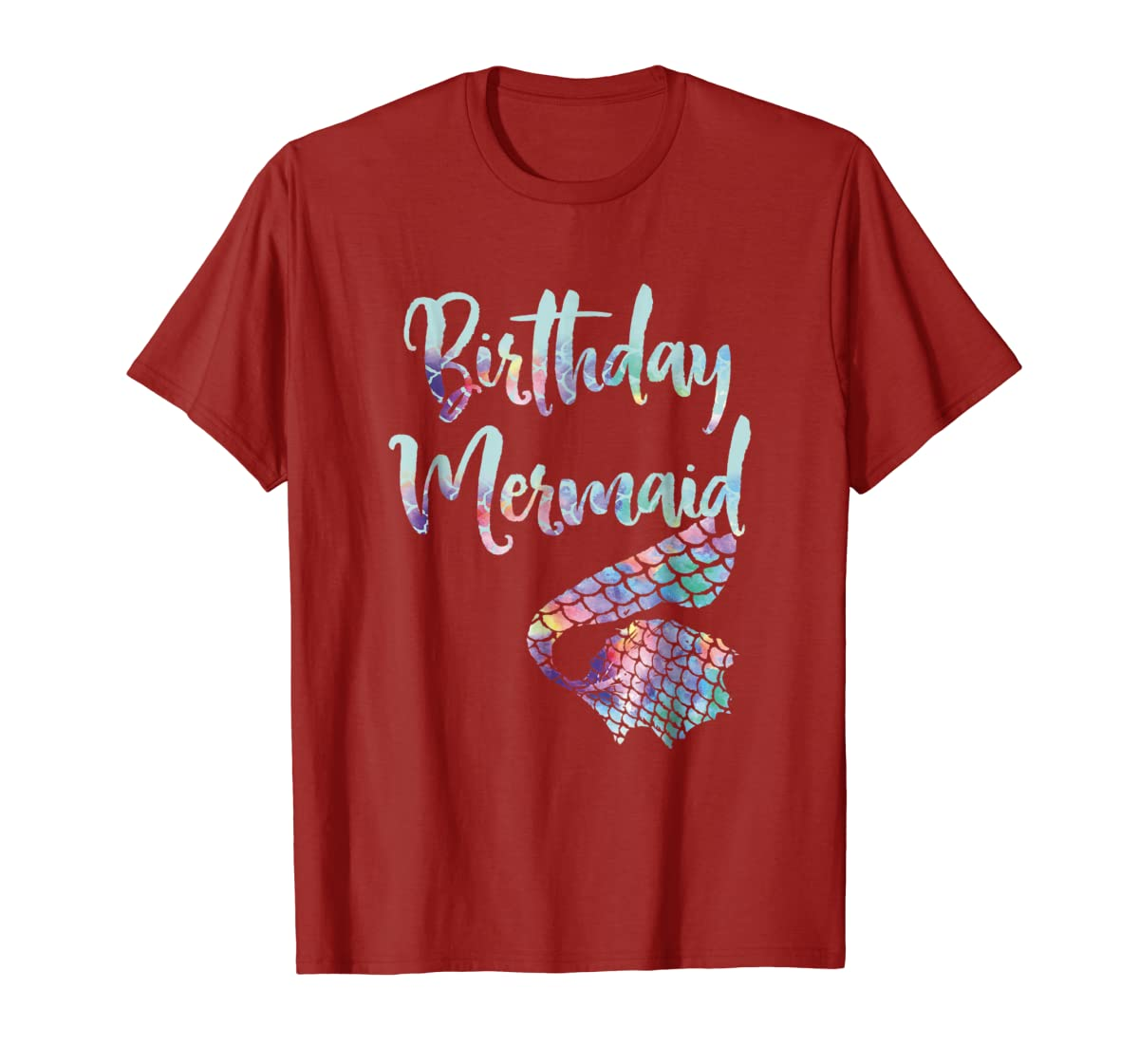 Birthday Mermaid Shirt-Men's T-Shirt-Red
