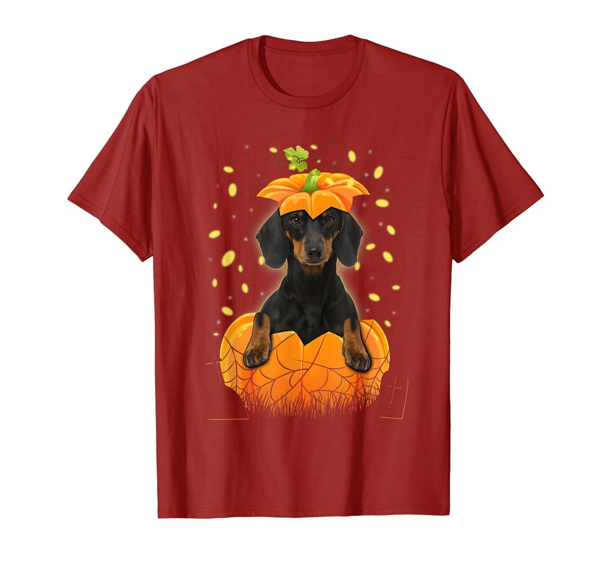 Happy Halloween Funny Dachshund Pumpkin T-Shirt-Men's T-Shirt-Red