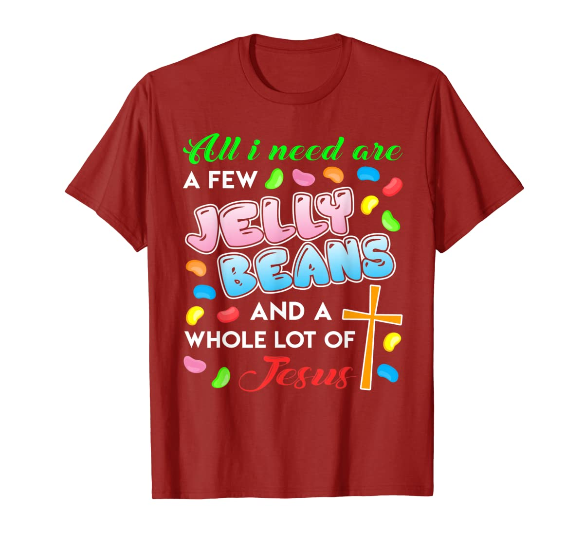 Jelly Beans And Jesus Happy Easter Funny Gift Shirt-Men's T-Shirt-Red