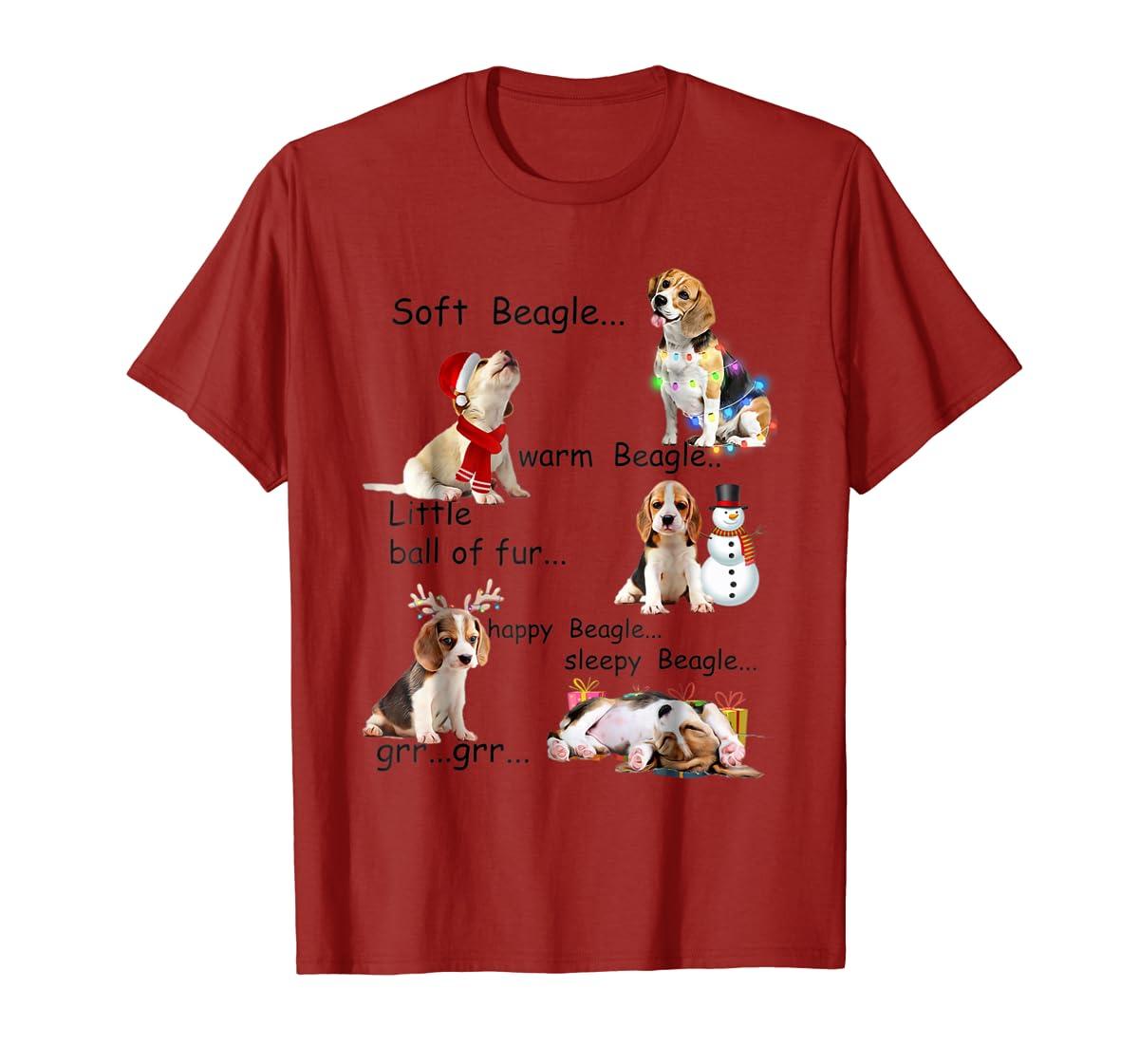 Beagle 5 Shades - Nice Dog Christmas Tshirt-Men's T-Shirt-Red